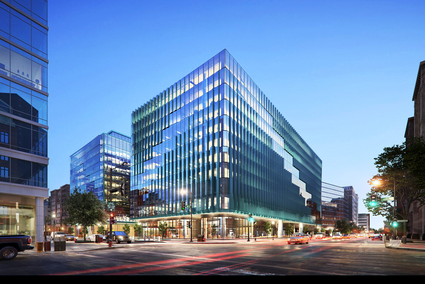 Night Effect Office street view 3D Rendering visual