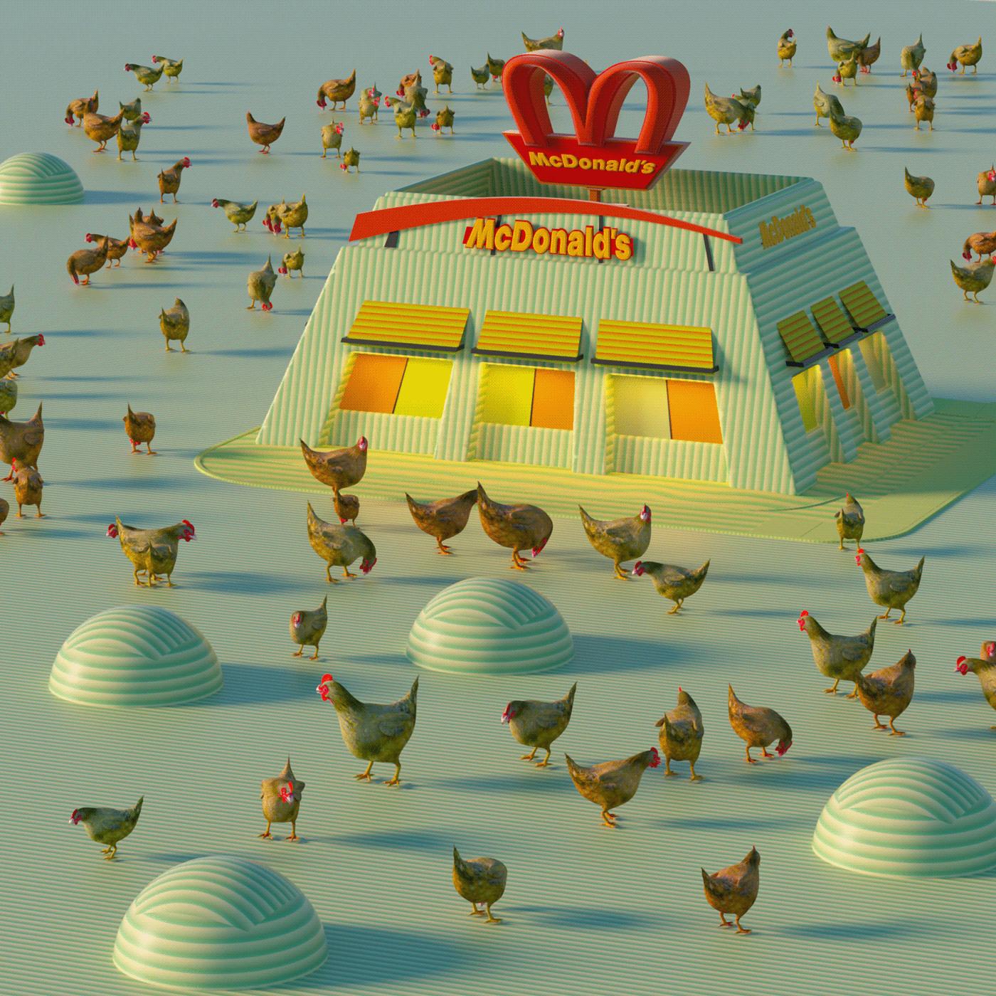 3d artist animation  animator c4d chiken cinema 4d COVID-19 freedom lockdown mcdonald