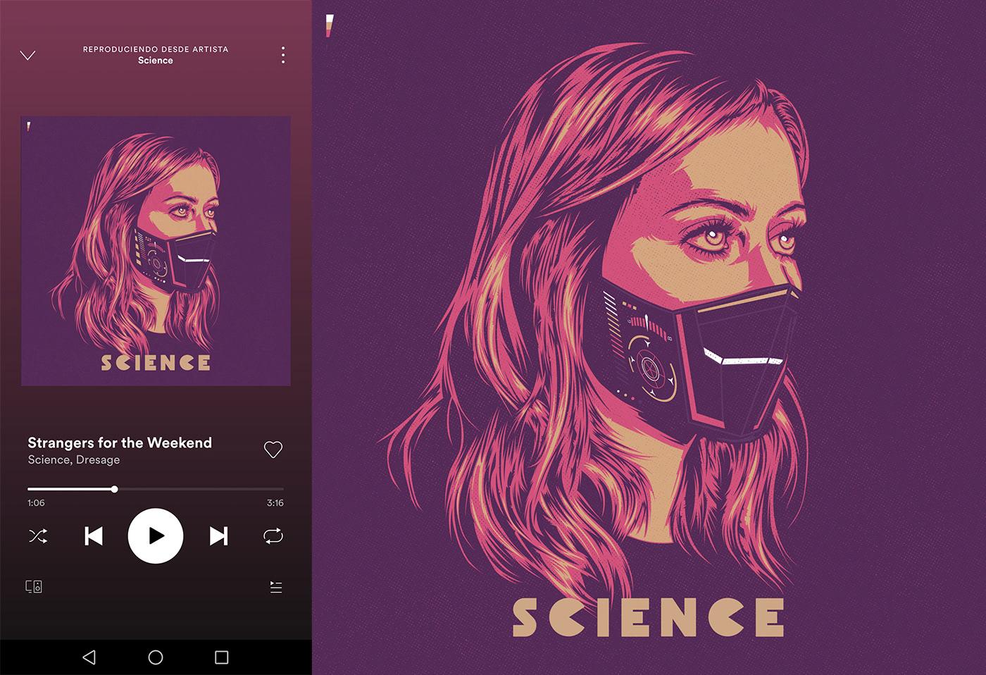 Album cover Cyberpunk music portraits sci-fi techno vector