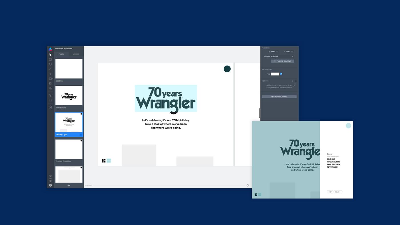 Wrangler microsite anniversary Lookbook Archive campaign