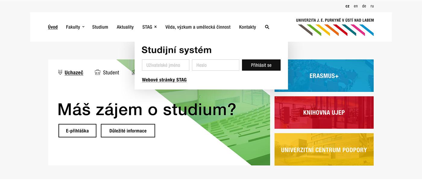 UJEP University redesign Webdesign Colourful  minimalistic Website UI motion graphic