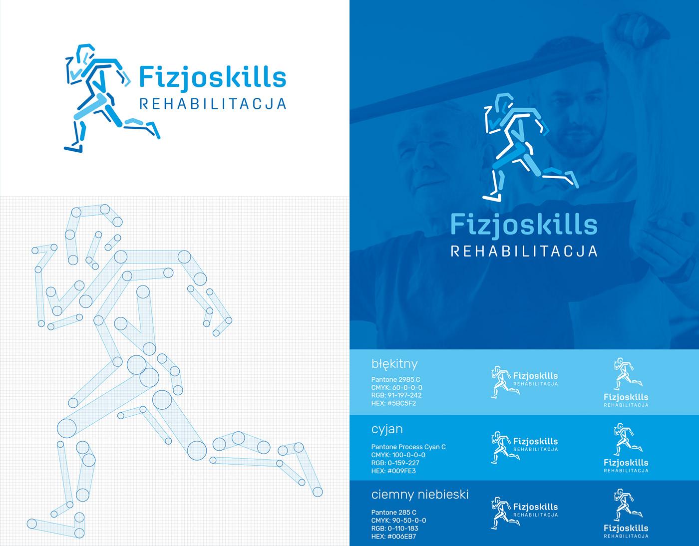blue brand Health identity logo physiotherapy rehabilitation run