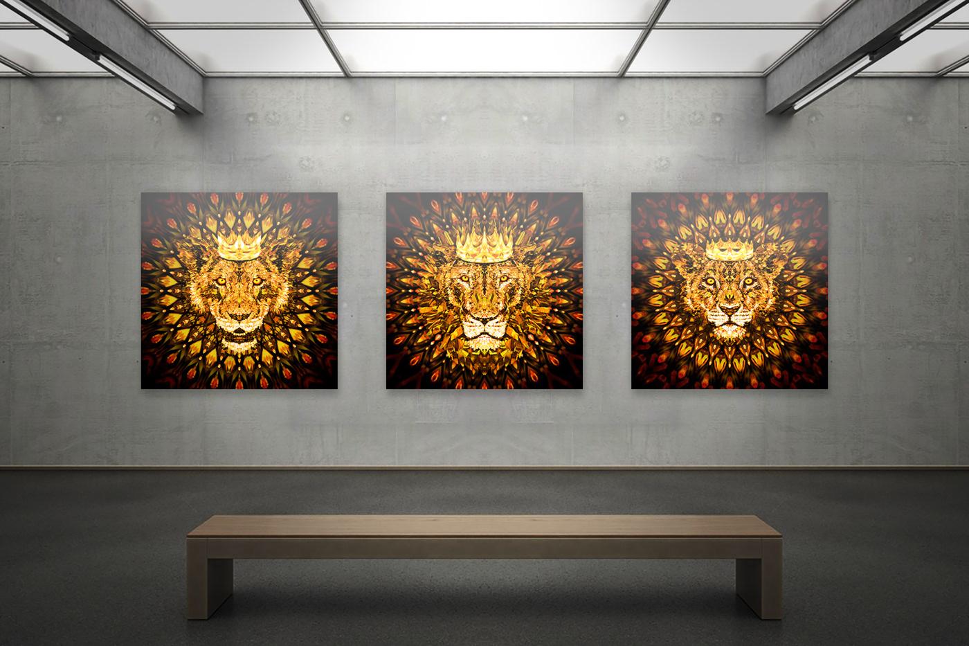 africa animal crown diamond  gold king lion Mandala nft vector