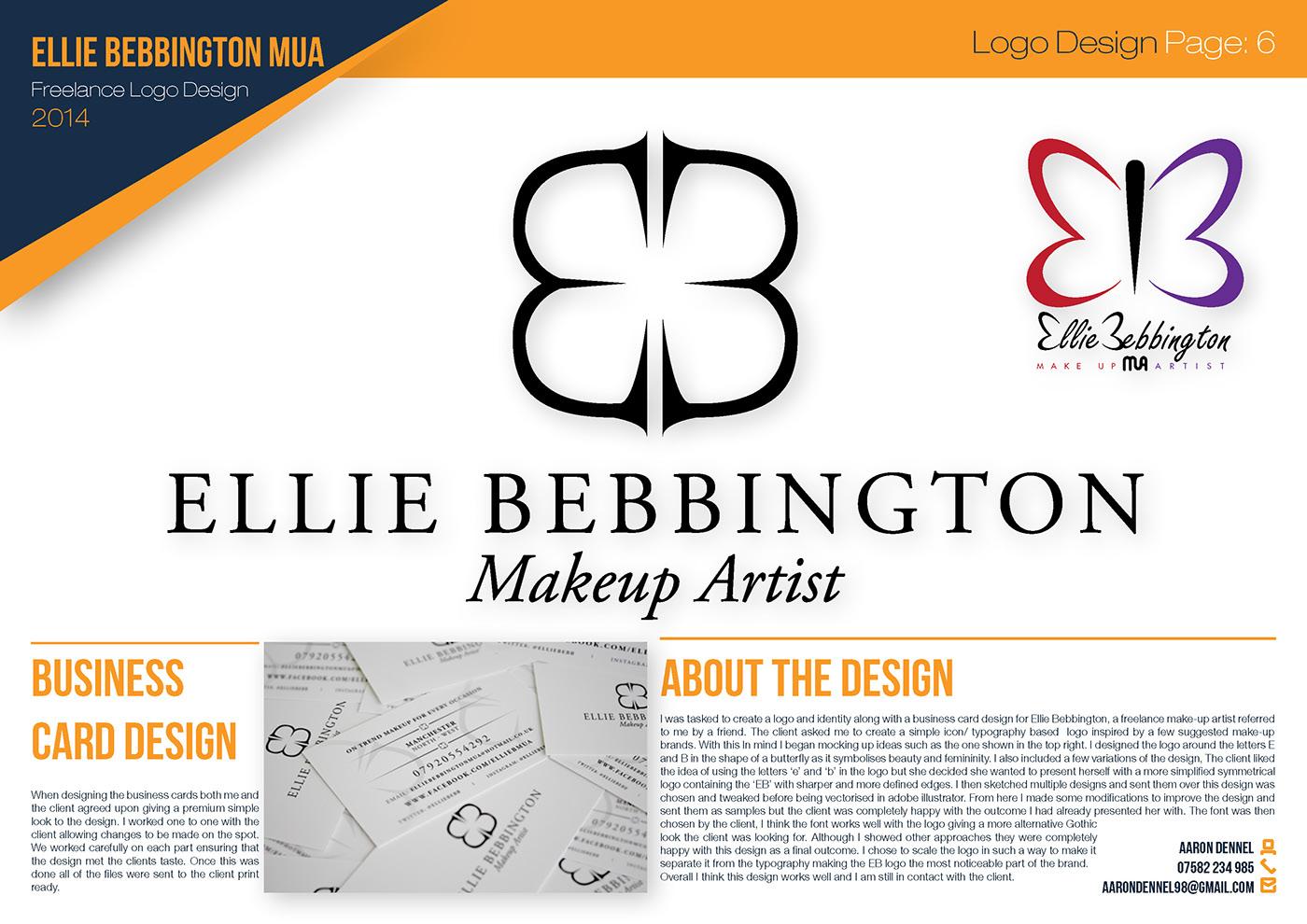 MUA design branding  logo eb Ellie Bebbington gothic serif