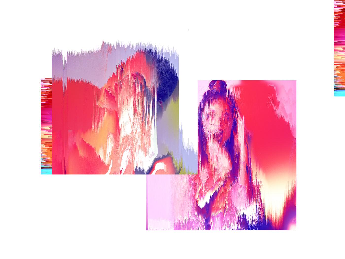 girls fire Glitch pink woman pixel sorting