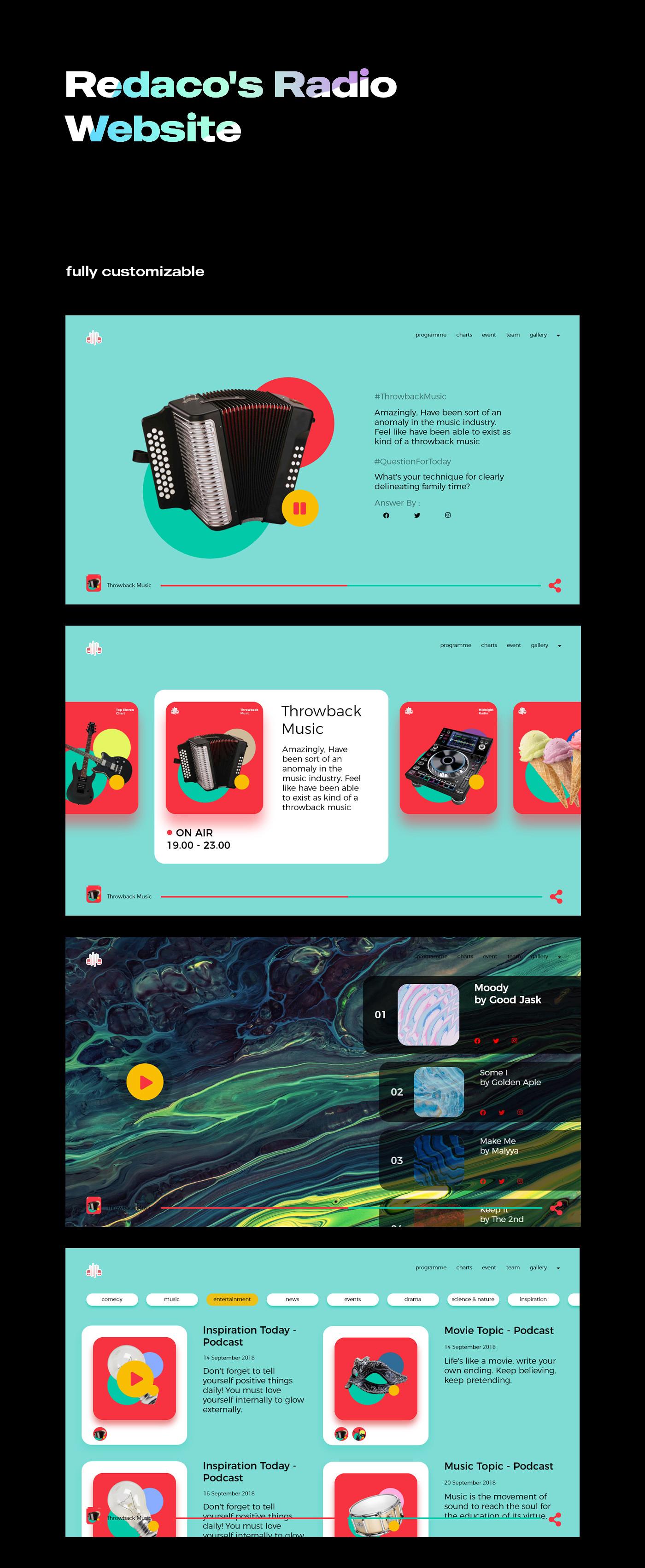 Website design Dynamic Interface Radio STATION Theme theming UI ux
