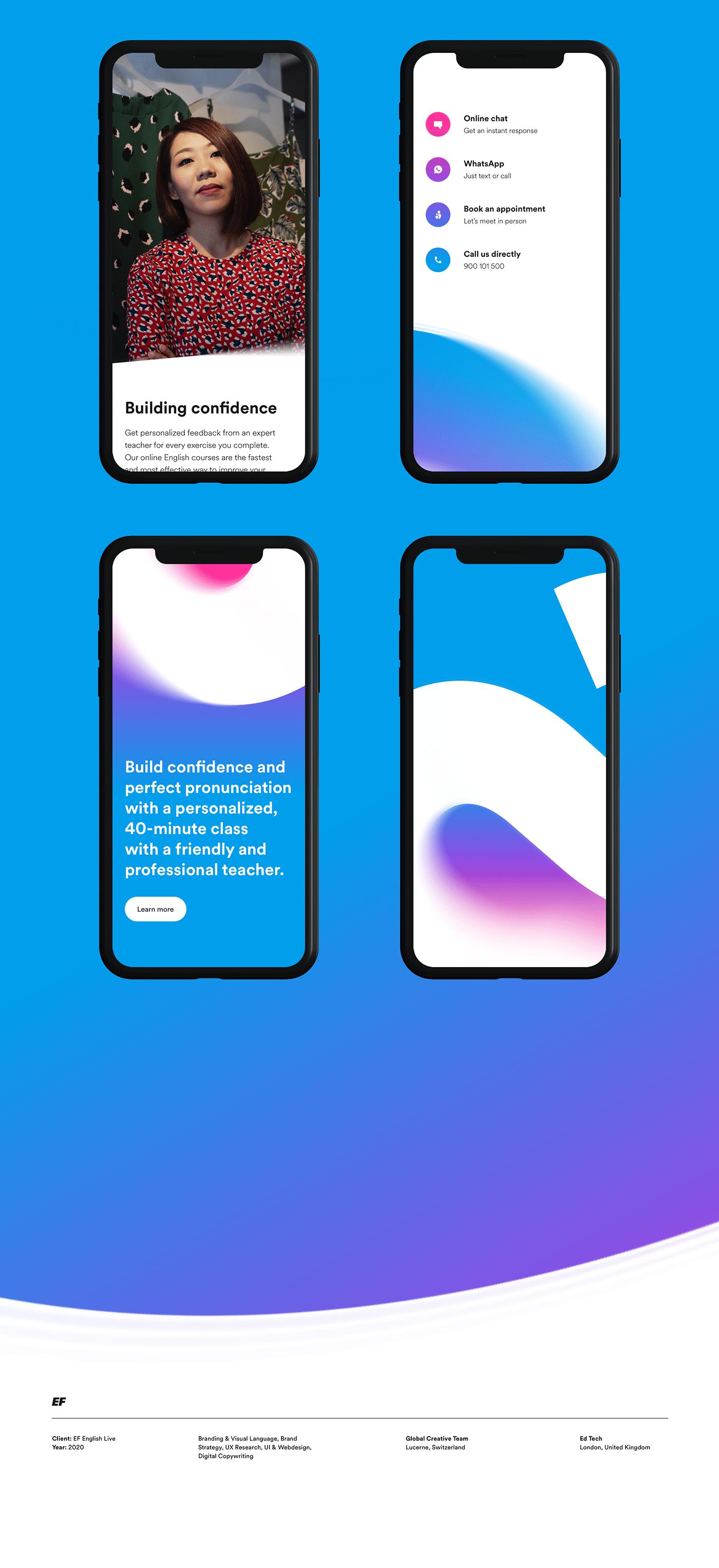 clean English Live gradient minimalistic modern Website white space