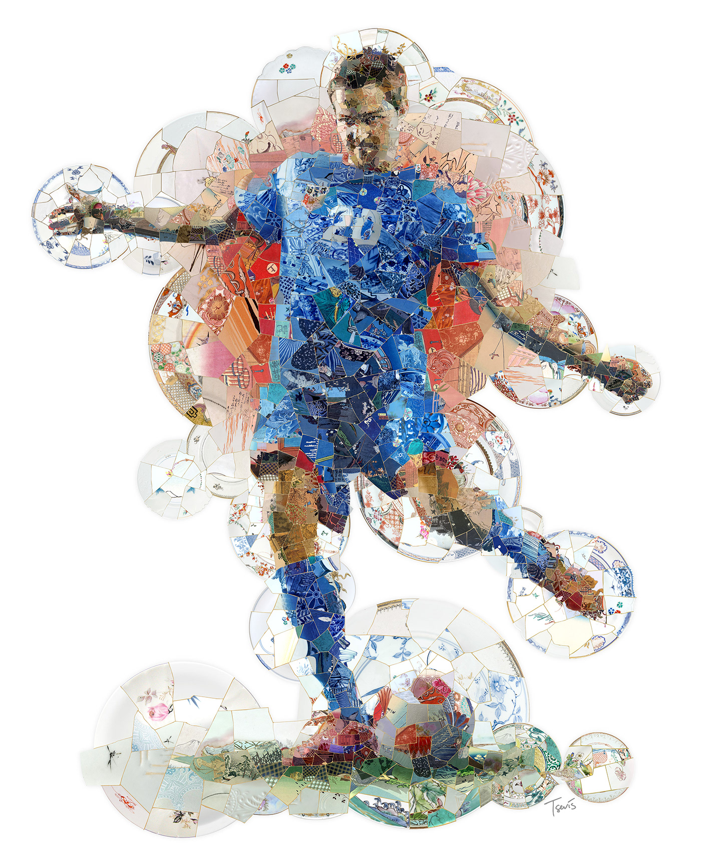 Mosaic illustration showing a soccer player ready to kick a ball. Created simulating Kintsugi art.