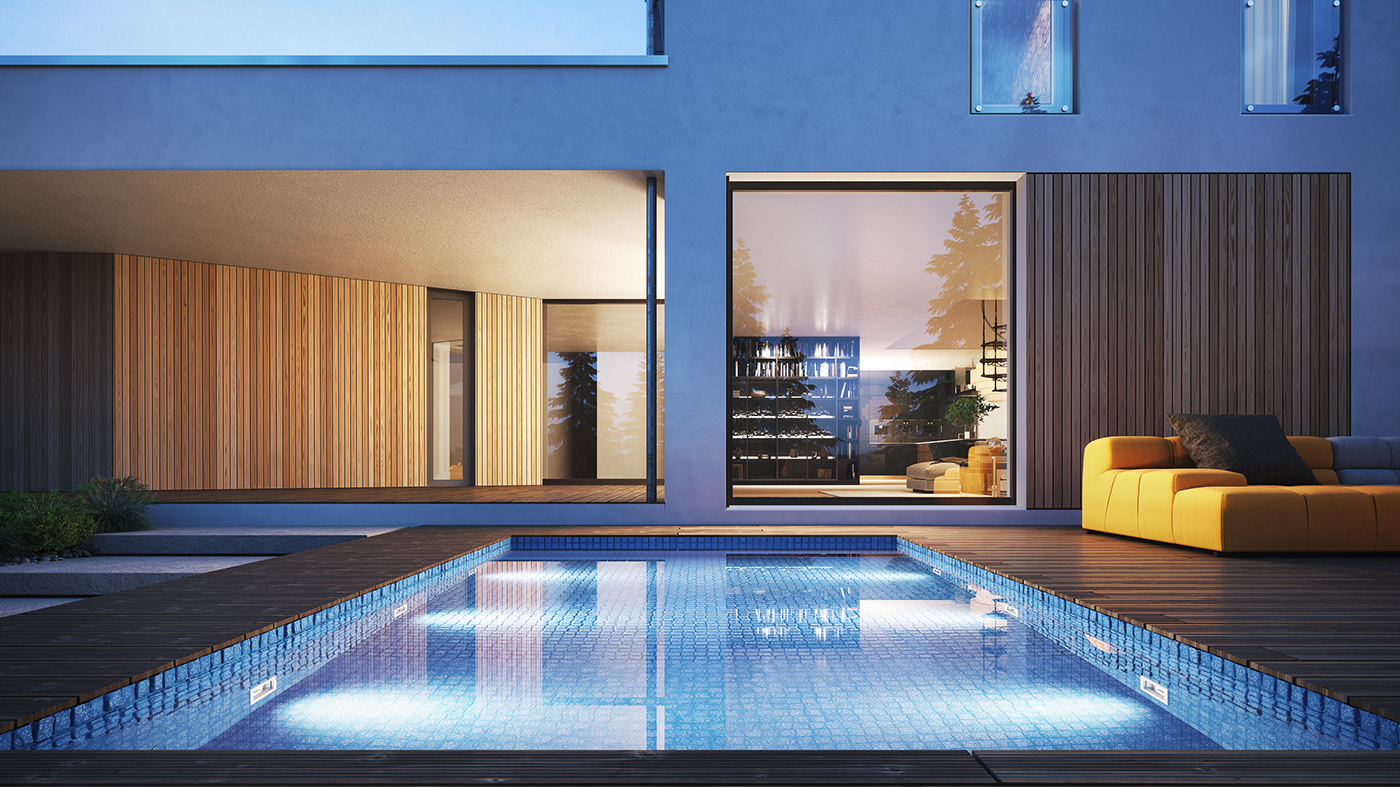 kakito 3D visualization CGI house rendering exterior DUSK 3ds max photorealistic
