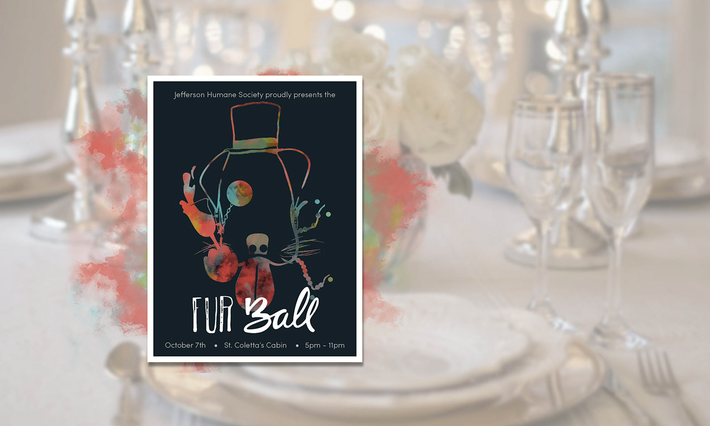 Humane Society fur ball Event Campaign paint Handlettering