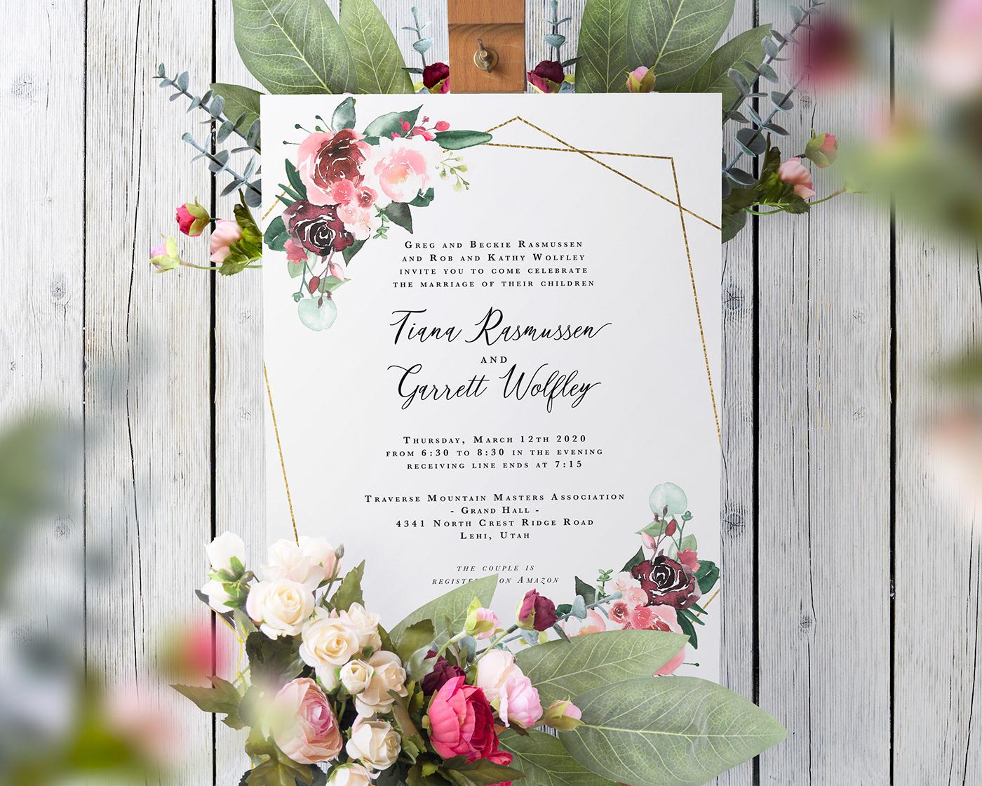 Flowers wedding boho pink gold geometric watercolor greenery invites painting