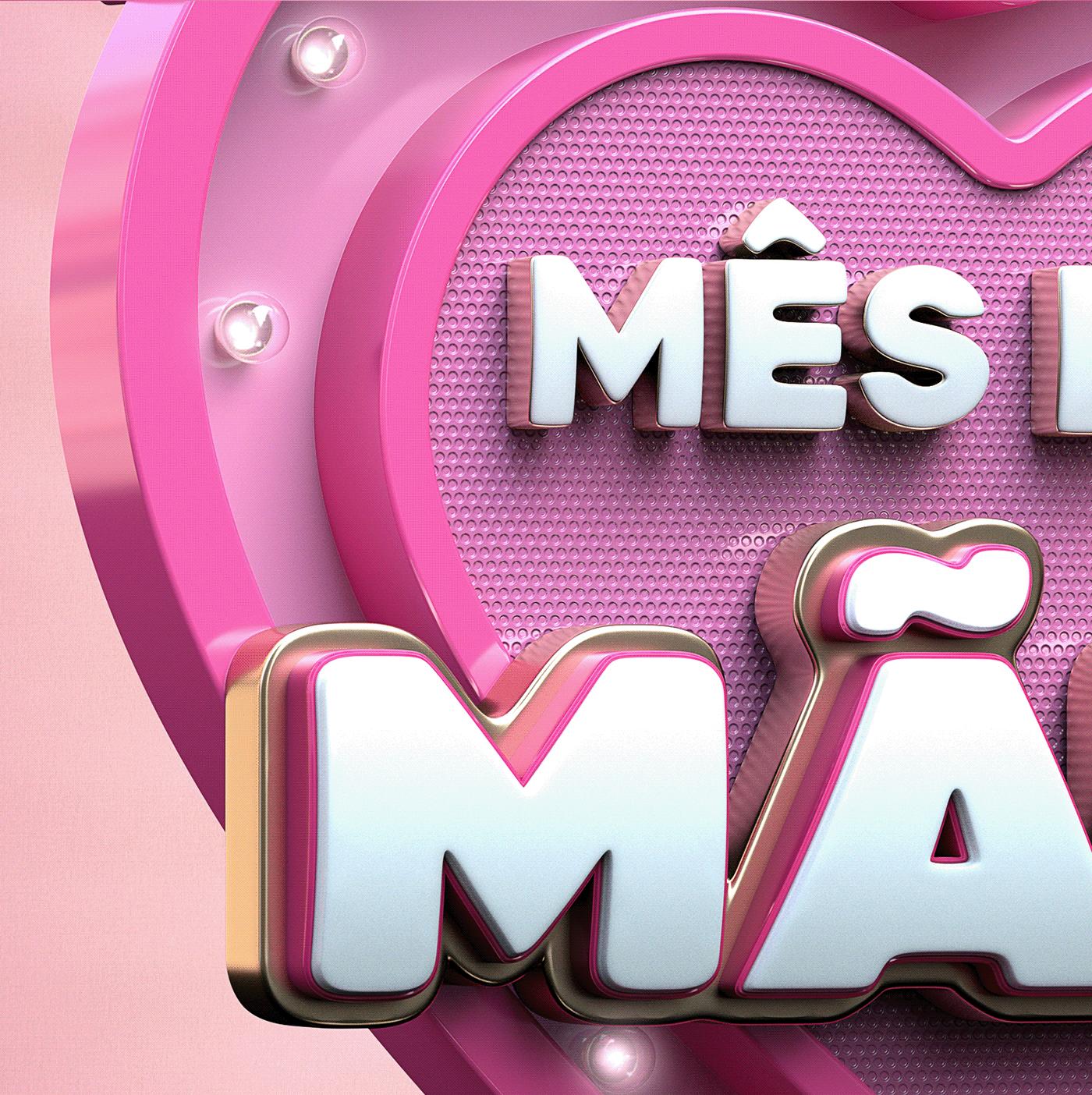 3D cinema 4d dia das mães mês das mães selo 3d selo varejo Selos 3D Social media 3d varejo