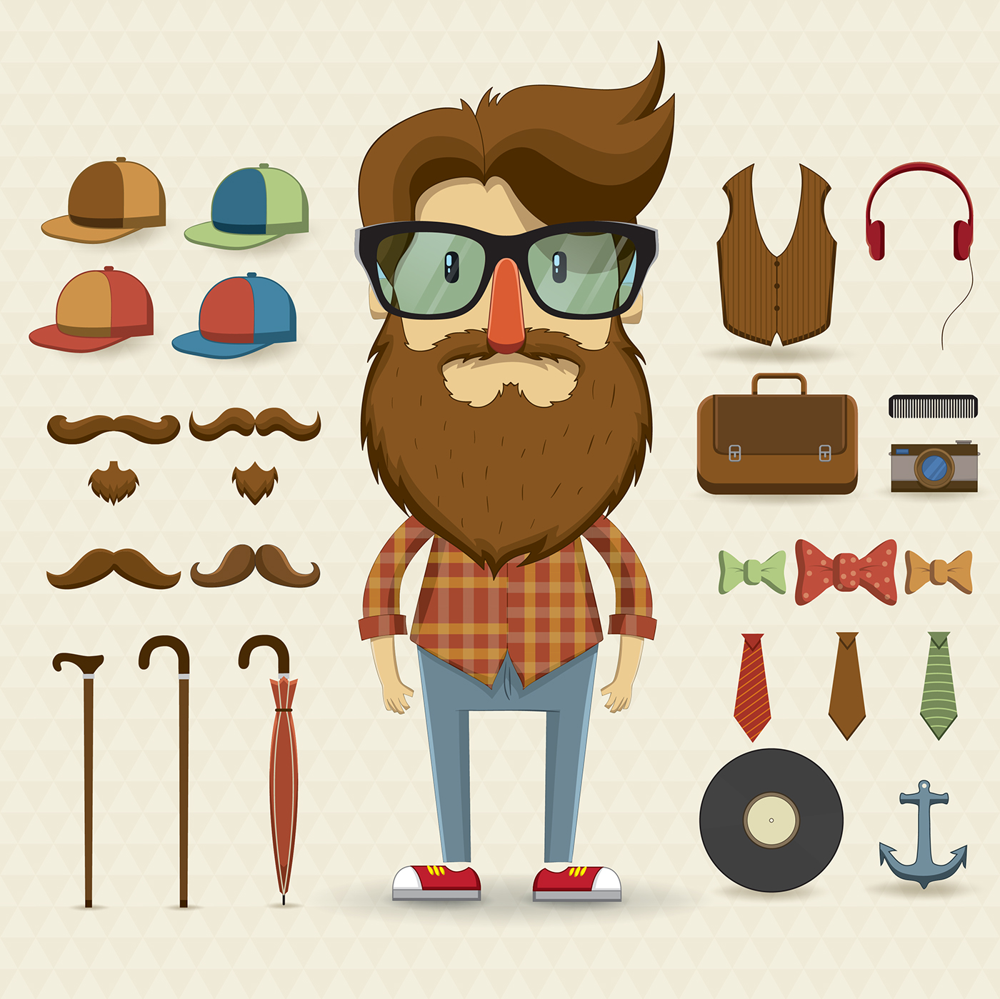 Character Design Kit : Character design set with elements and accessories on behance