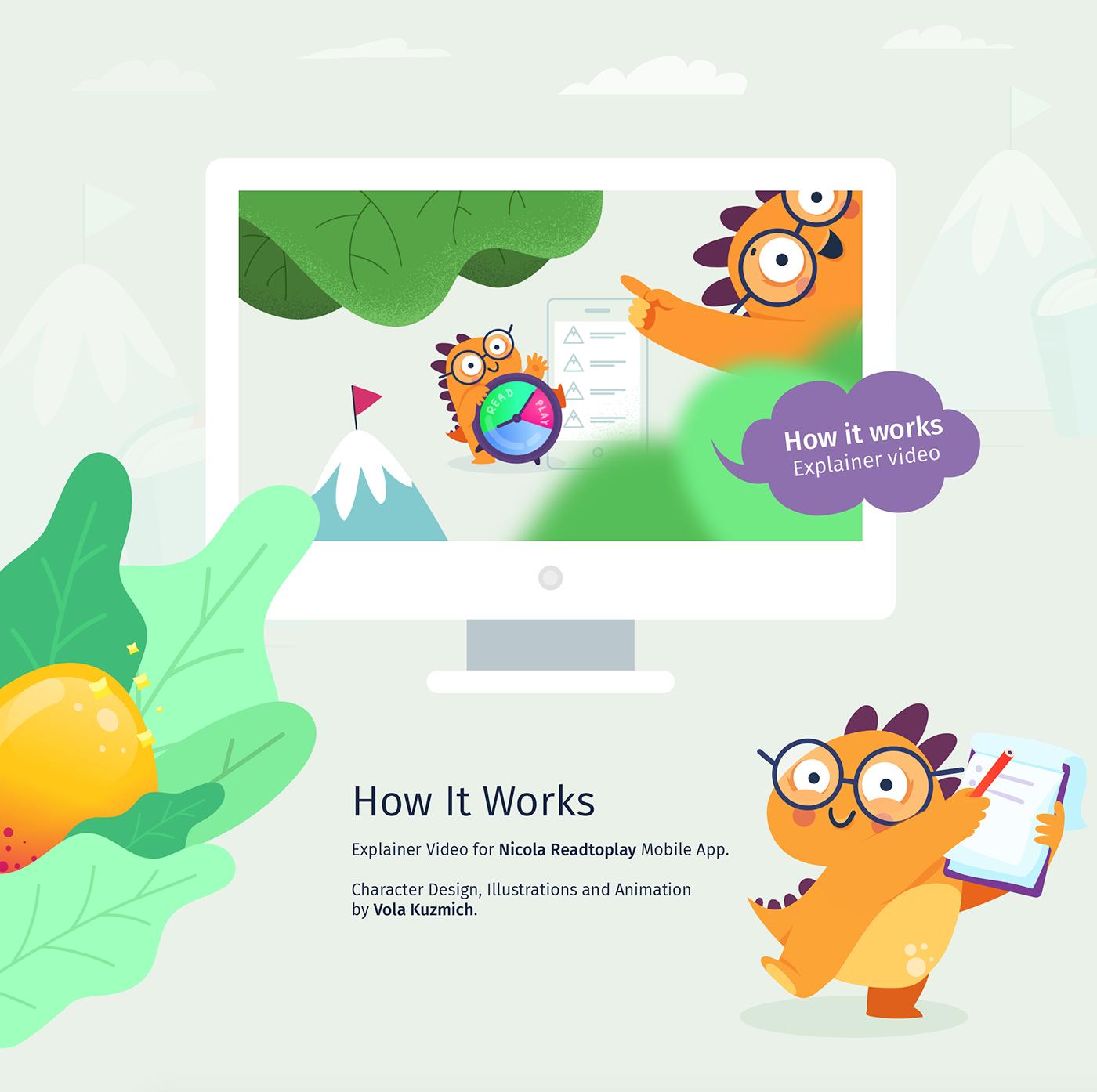 motion design animation  Dinosaur orange cute chatacter explainer video gif