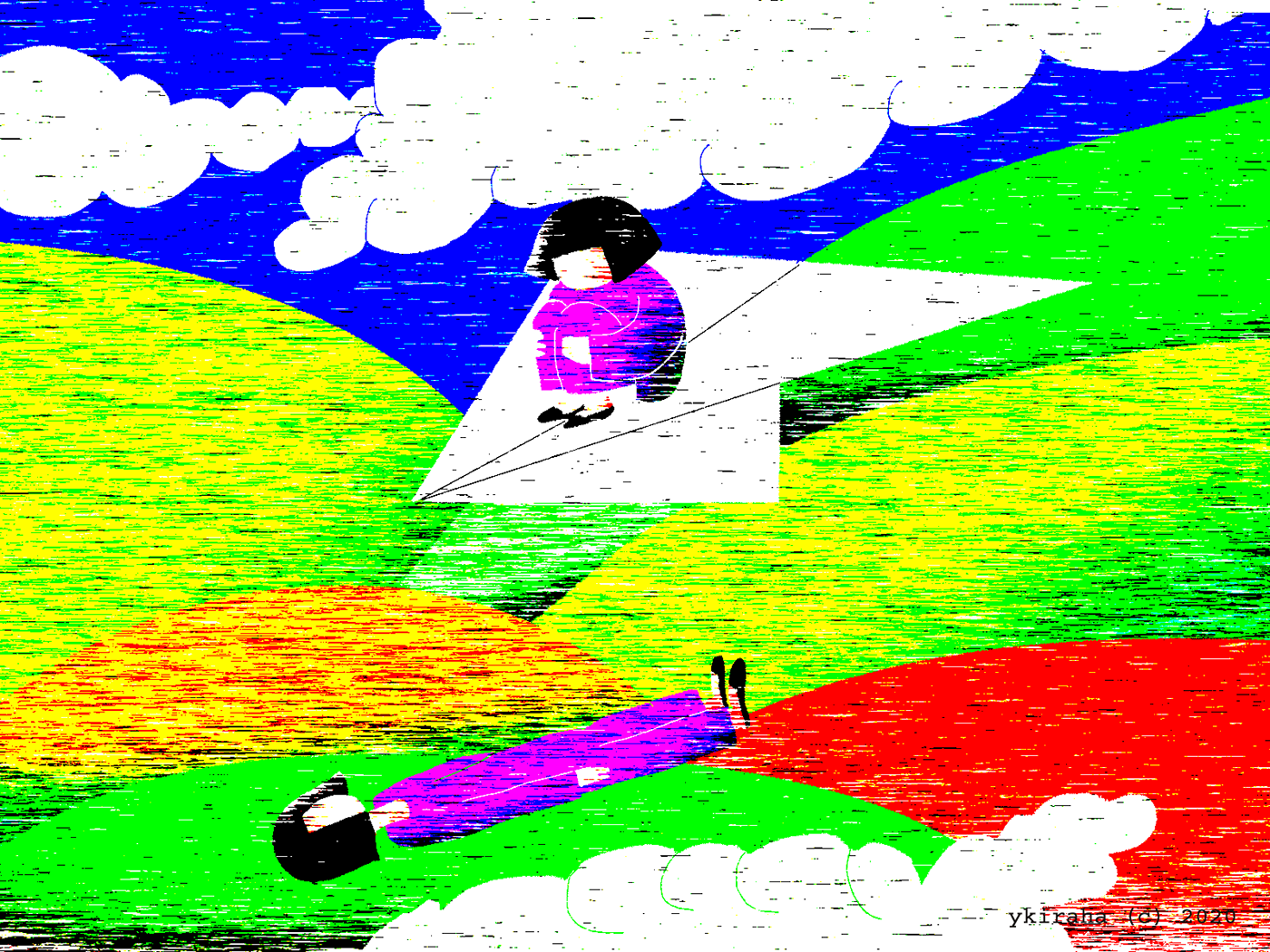 yukio kevin iraha's whimsical illustration about a girl riding paper plane looking at herself