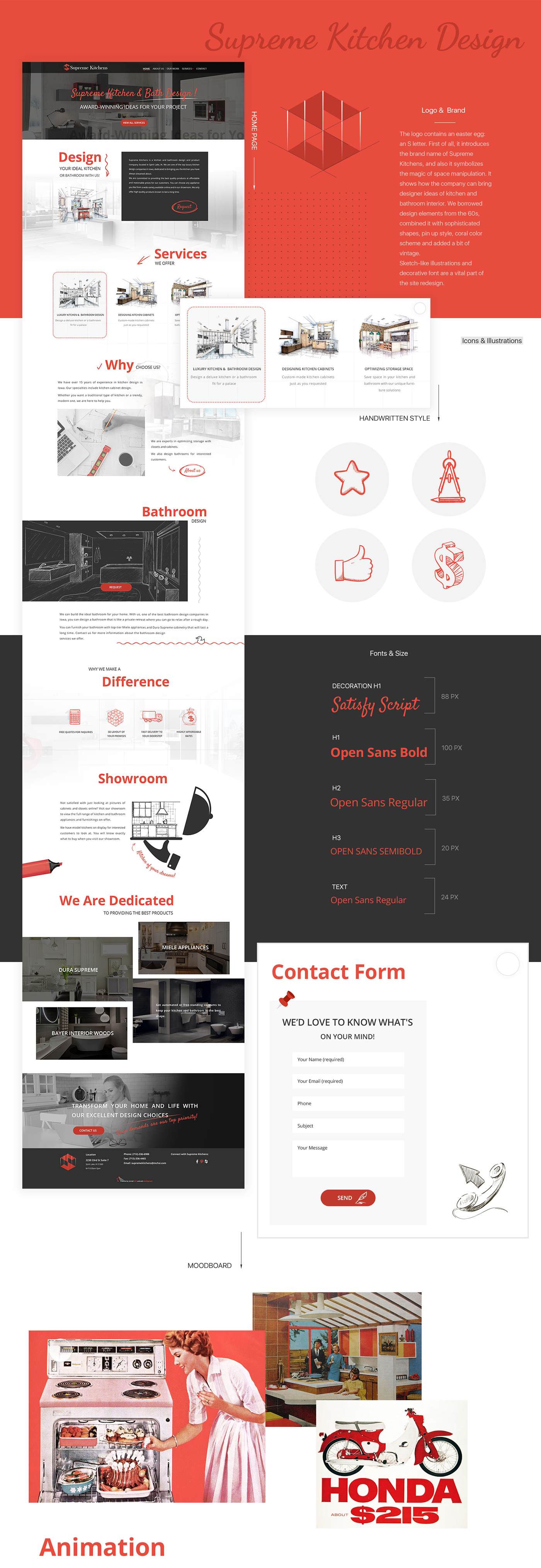 kitchen UI ux Web design redesign red coral logo brand