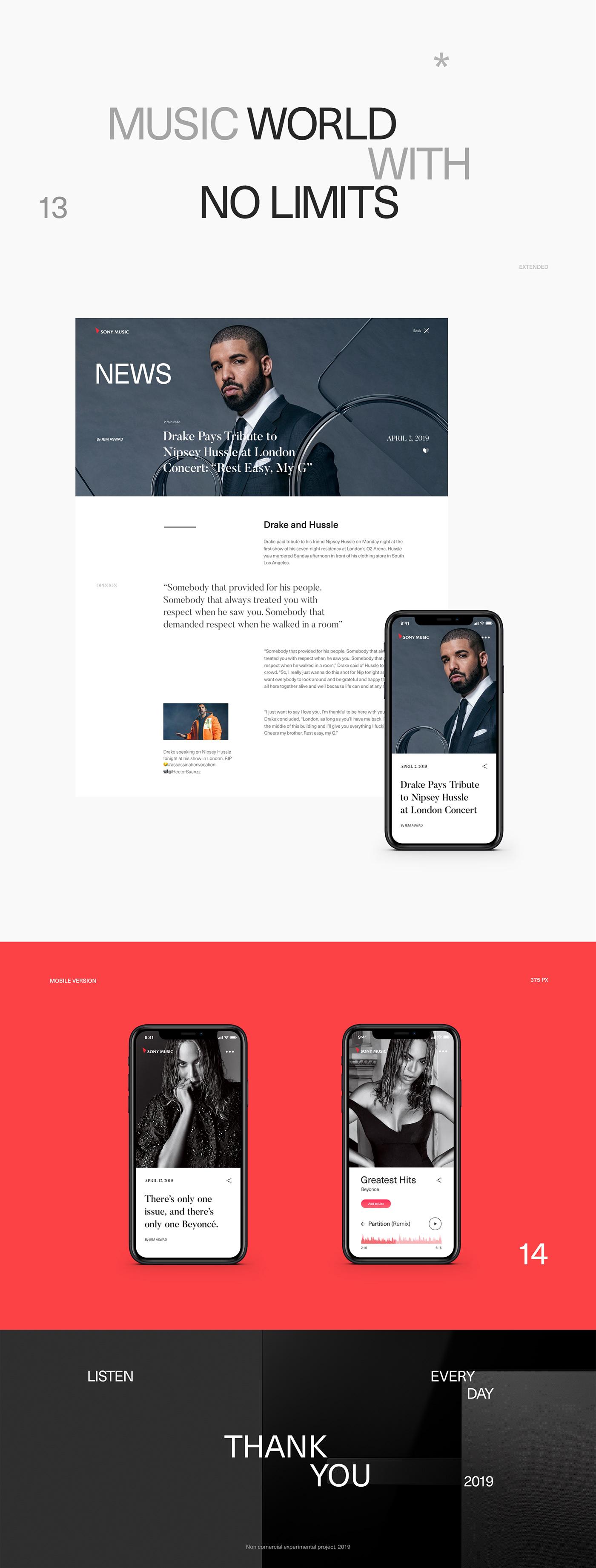 Website minimal Sony music typography   flat promo black mobile motion