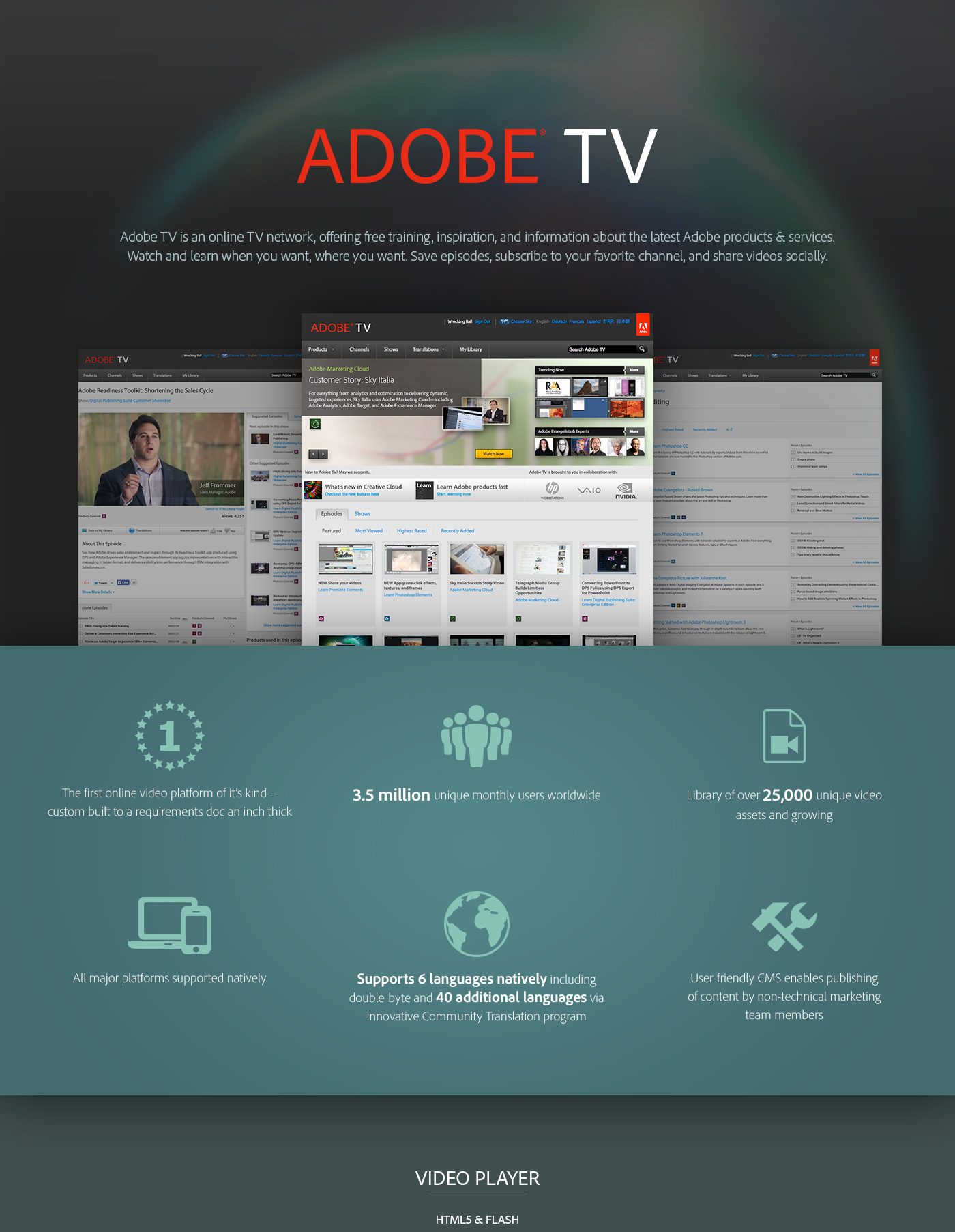 adobe Platform Custom Development software video tv Adobe TV Platform Solutions Enterprise Platforms