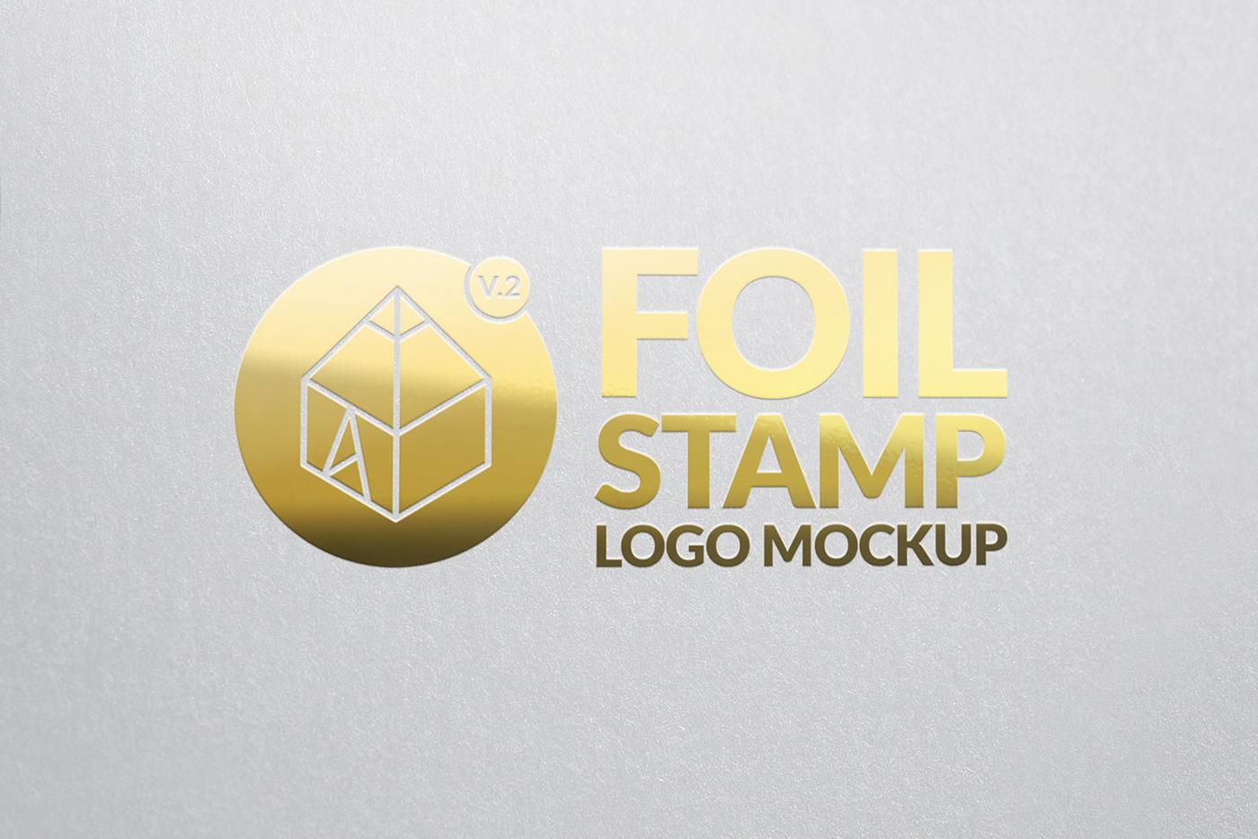 decorative design elegant foil logo mock-up Mockup paper showcase stamp
