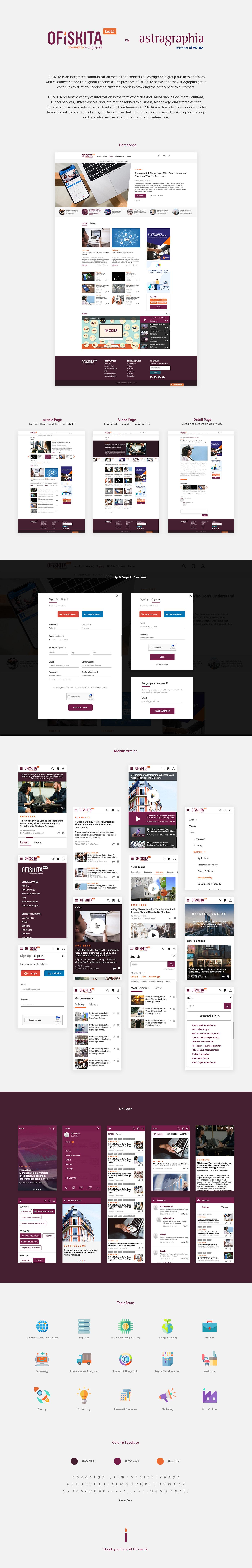 design Website app purple clean UI/UX Layout Icon news media