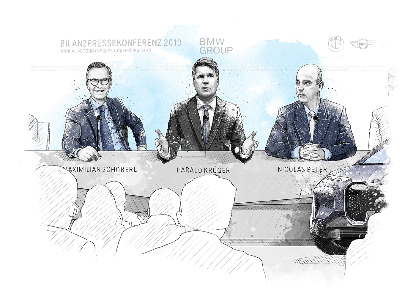 annual report black and white digital illustration drawings Editorial Illustration people portrait Portraiture sports watercolor