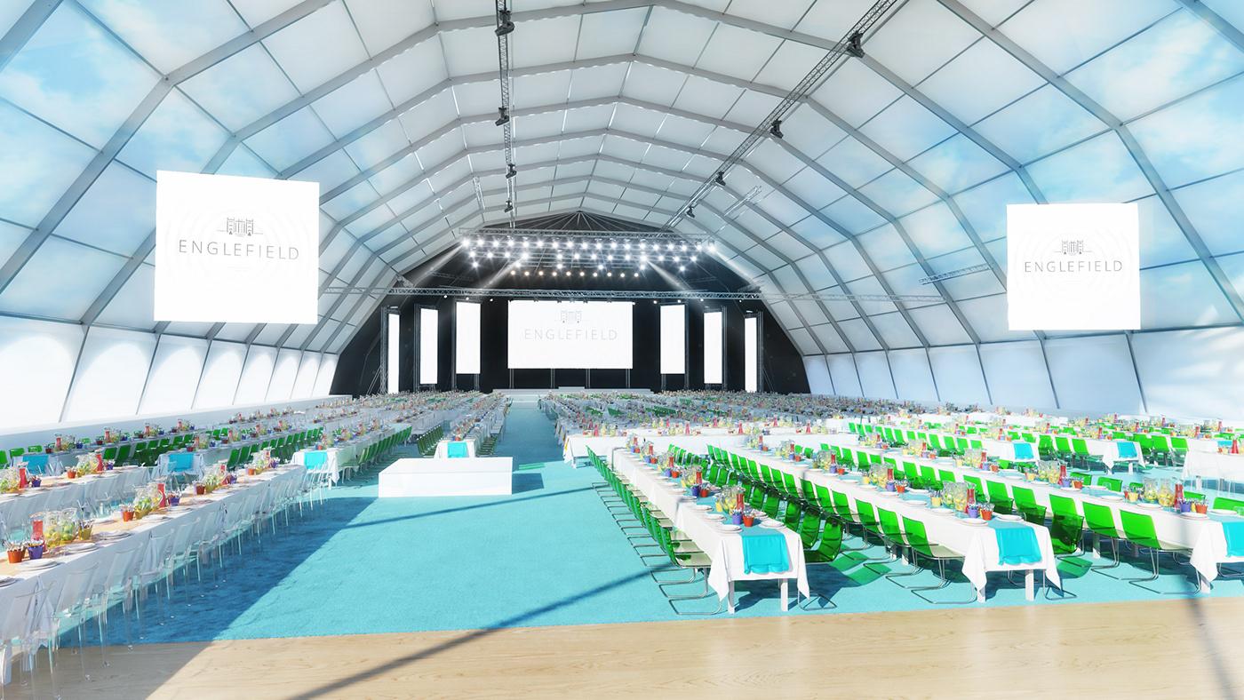 3D design Event Exhibition  marketing   pitch Render set Stage visualization
