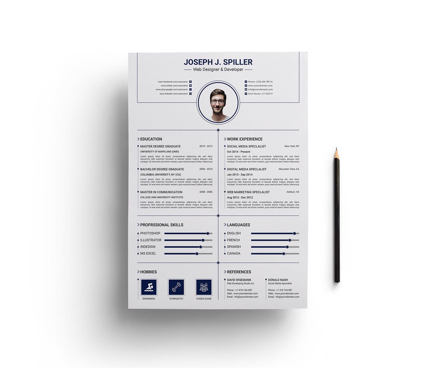 Resume Cv Template On Behance