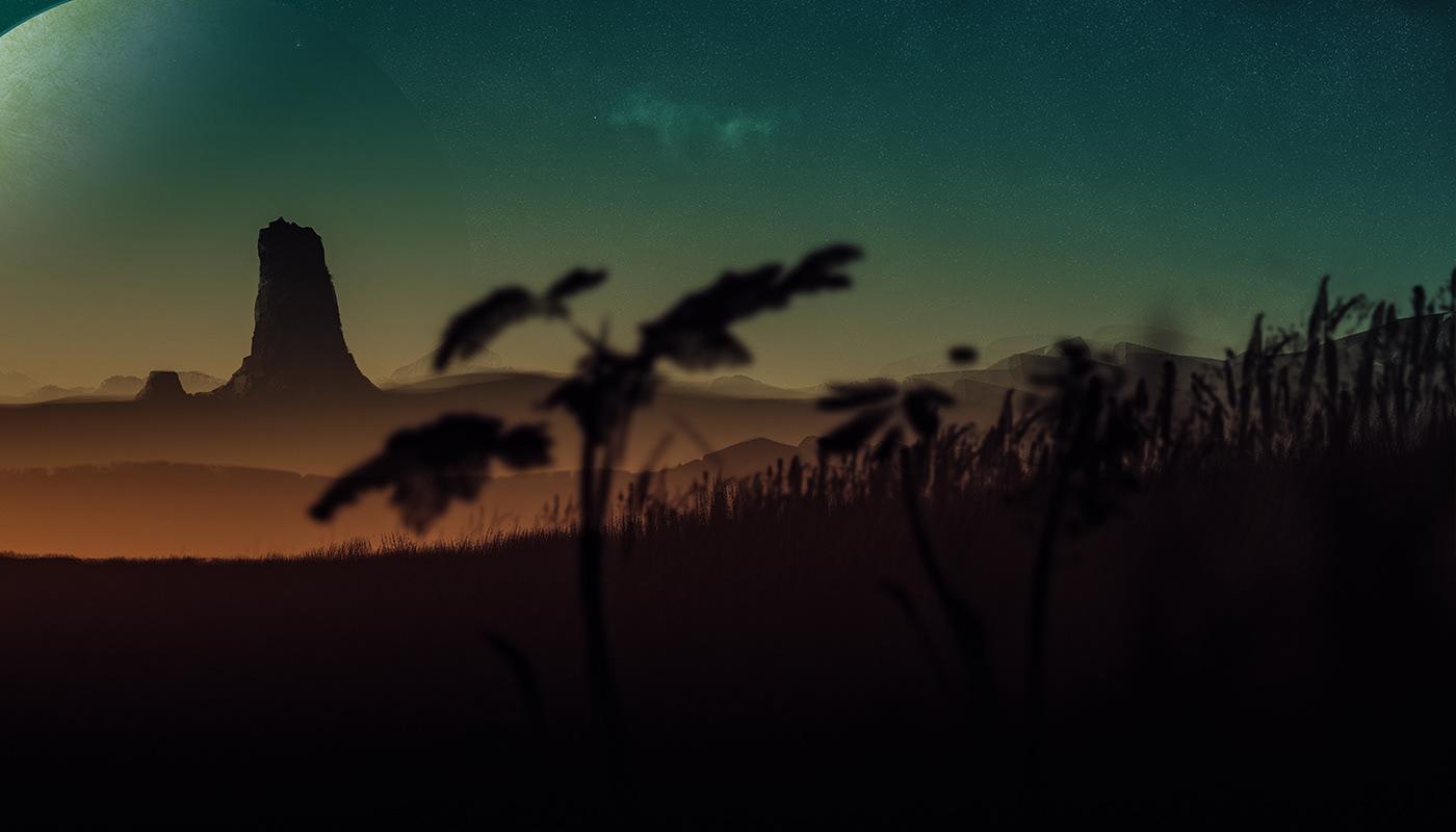 planet SKY stars Landscape artwork Nature desert fantasy night