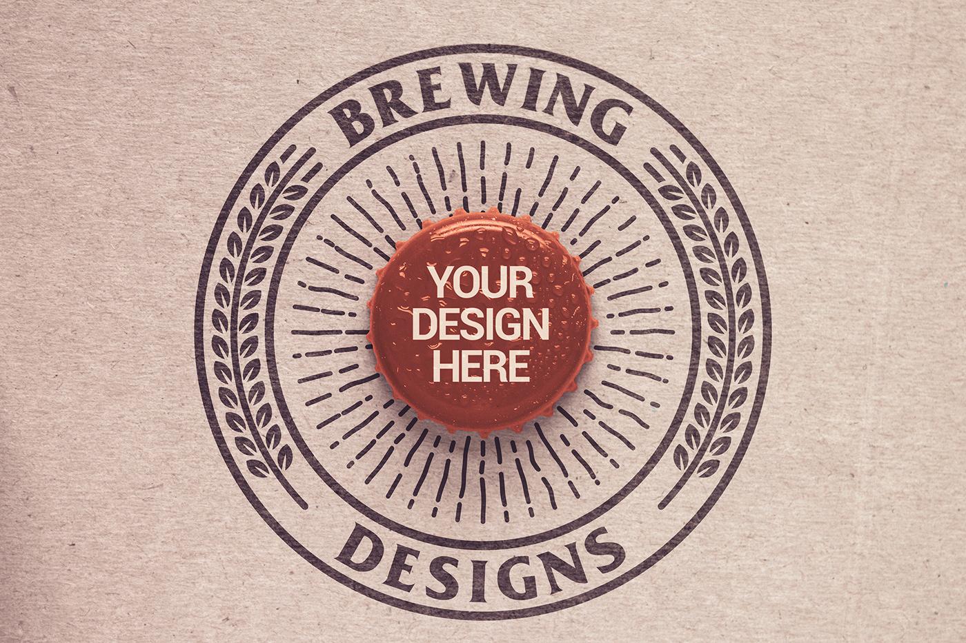 beer bottle cap craft logo malt Mockup paper paperboard top view