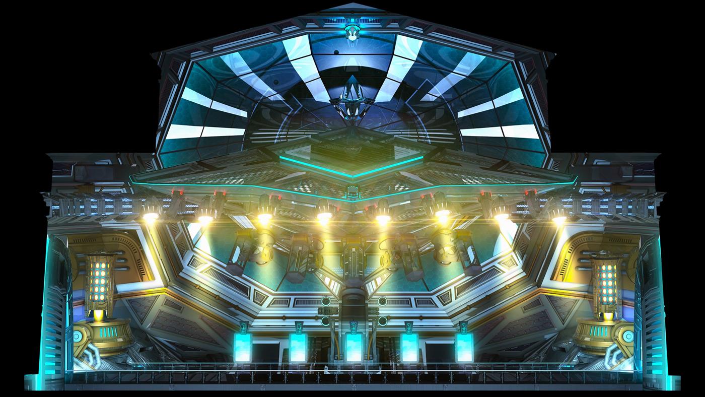3D CG c4d cinema4d Space  sci-fi Scifi projection Mapping Circle of light lightfest