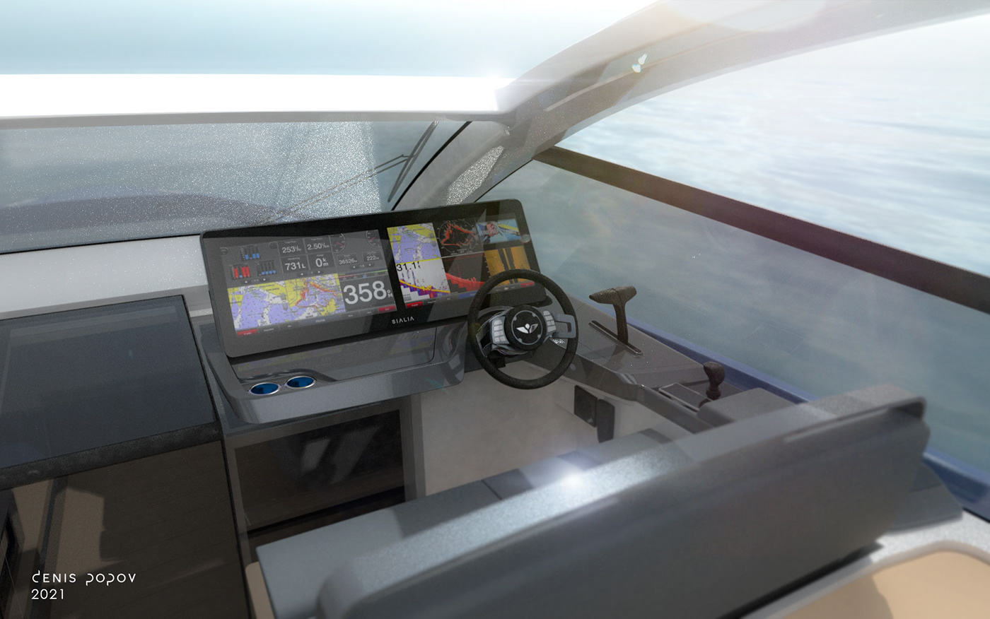 Sialia 57. Electric yacht prototype. All systems on board are connected.