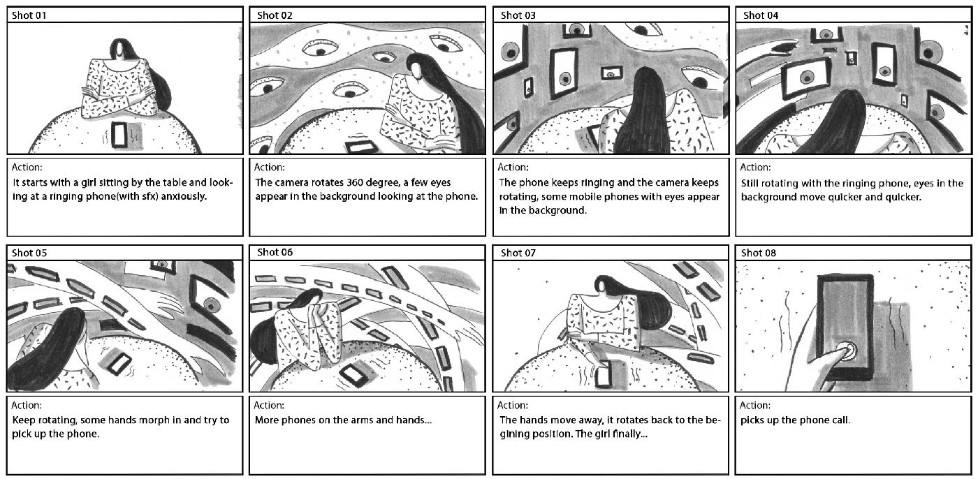 Mtv anxious purple pantone 2D Character emotion storyboard