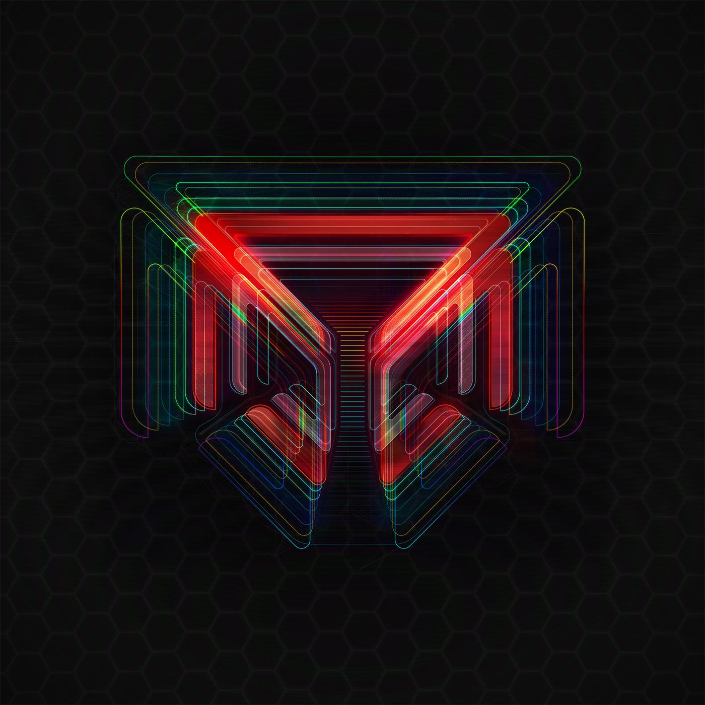 logo Cyberpunk tech deus ex Patterns glow lighting complex large coloruful