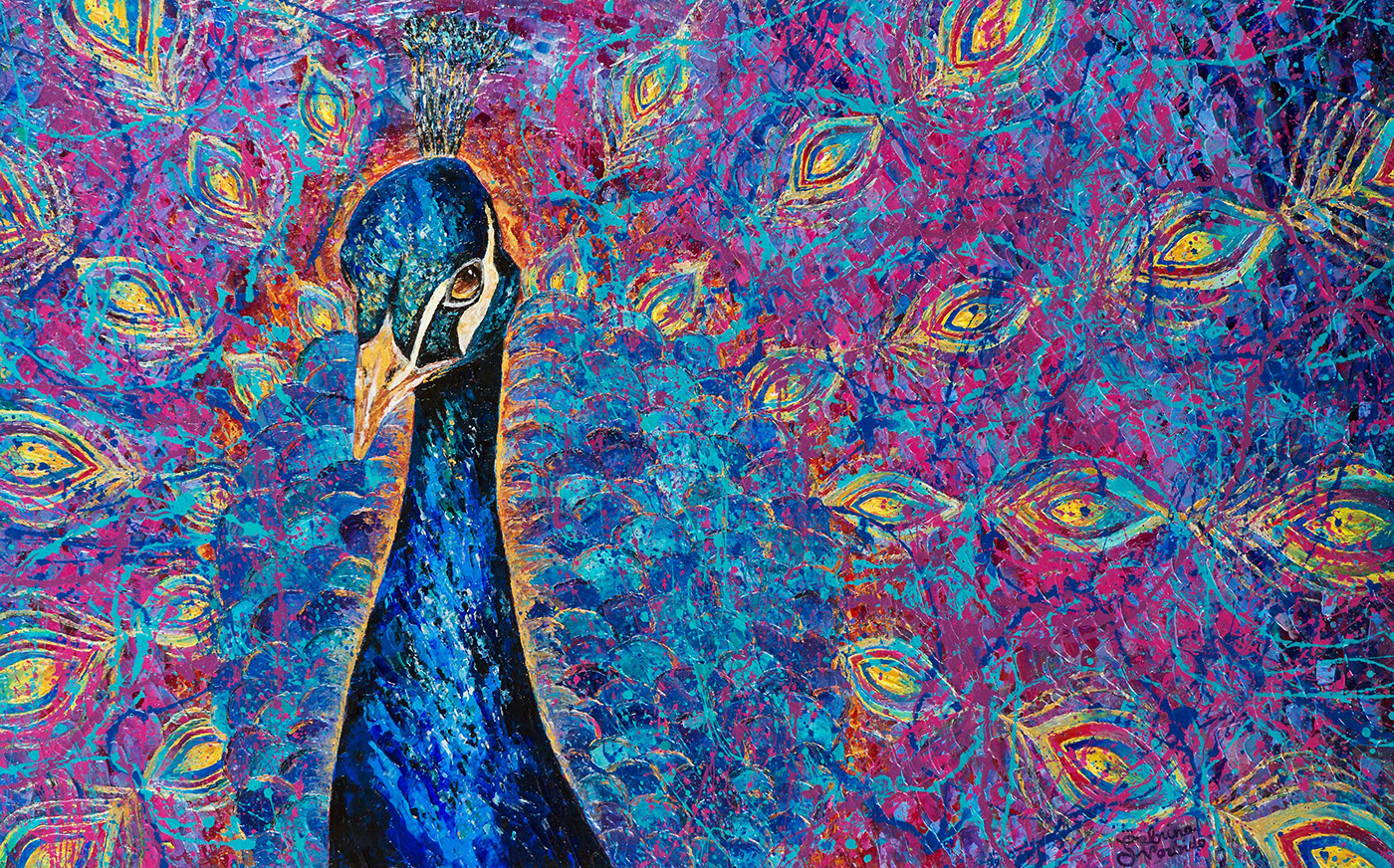 FINEART painting   fineartbrisbane brisbaneartist brisbanepainter peacockpainting behanceartist