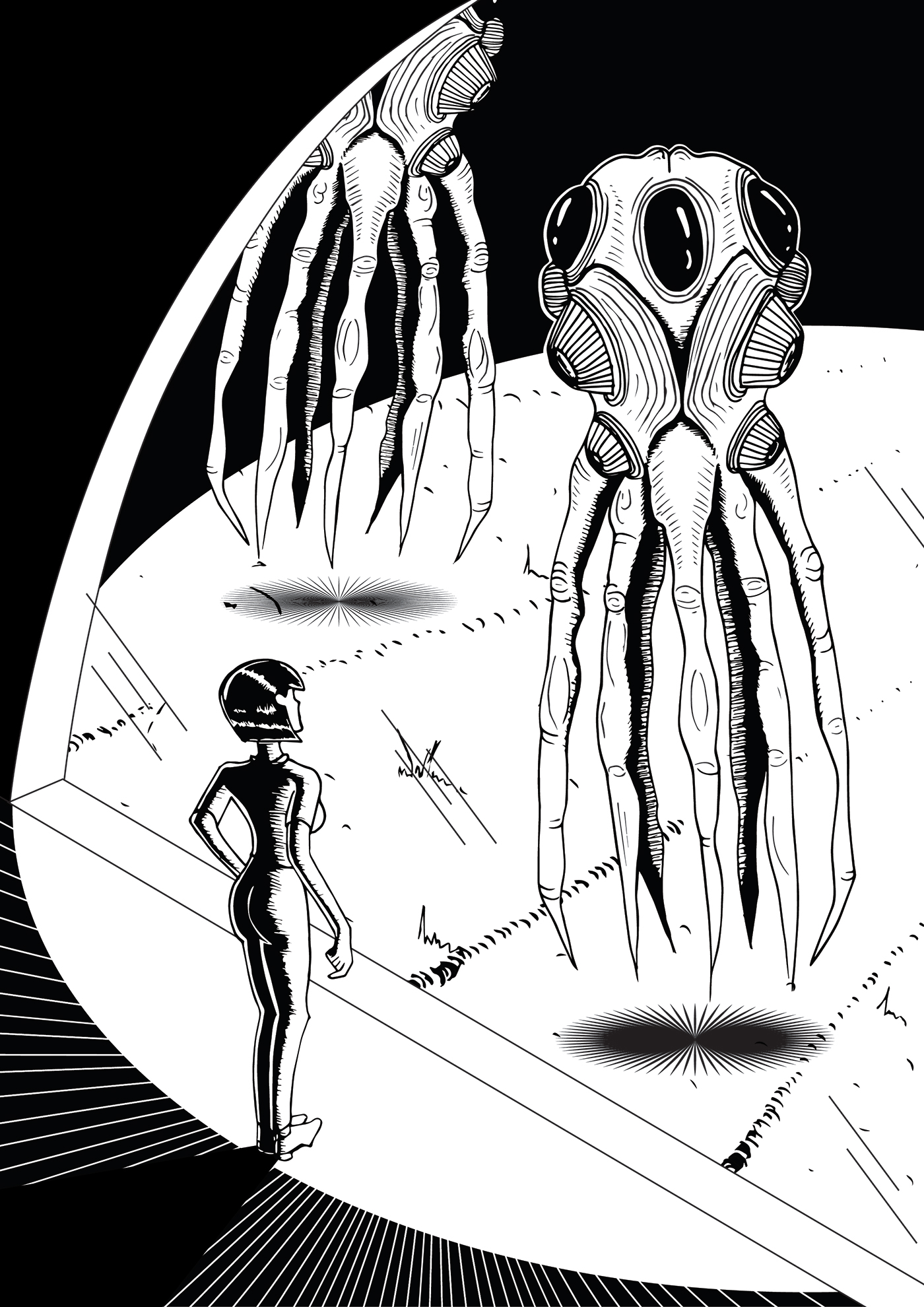 Illustrator photoshop Film   alien ILLUSTRATION  black White thearrival