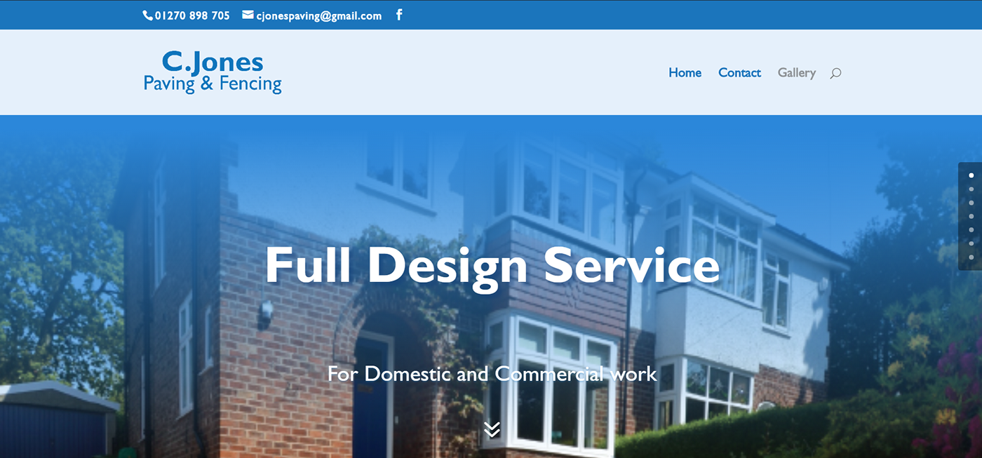 Website construction patios driveway cjones design onepage blue minimal