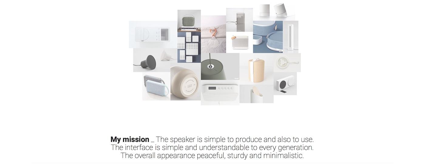 speaker industrial design  muji product rendering Photography  concept bluetooth student Jara Freund