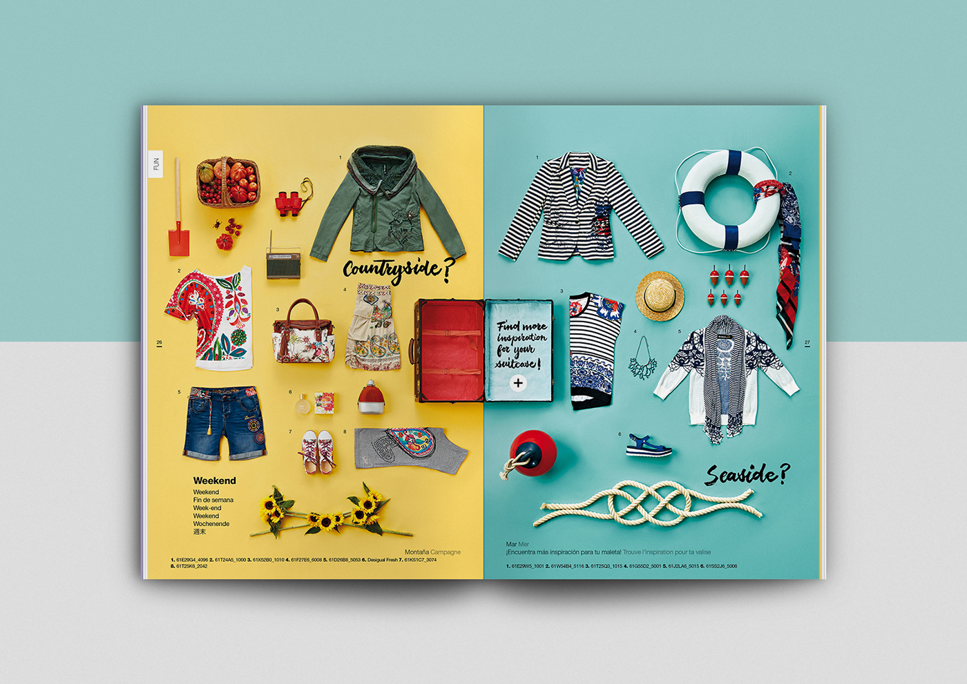 minimal clean pastel colours colors desigual table of contents Catalogue brochure spring summer