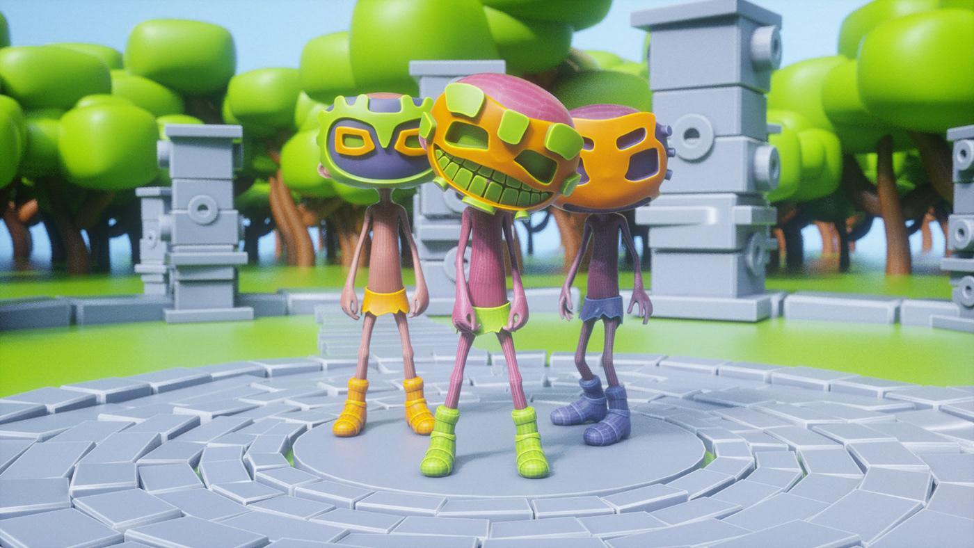 3D animation  c4d cartoon Character halawany let's dance mask motion tribal