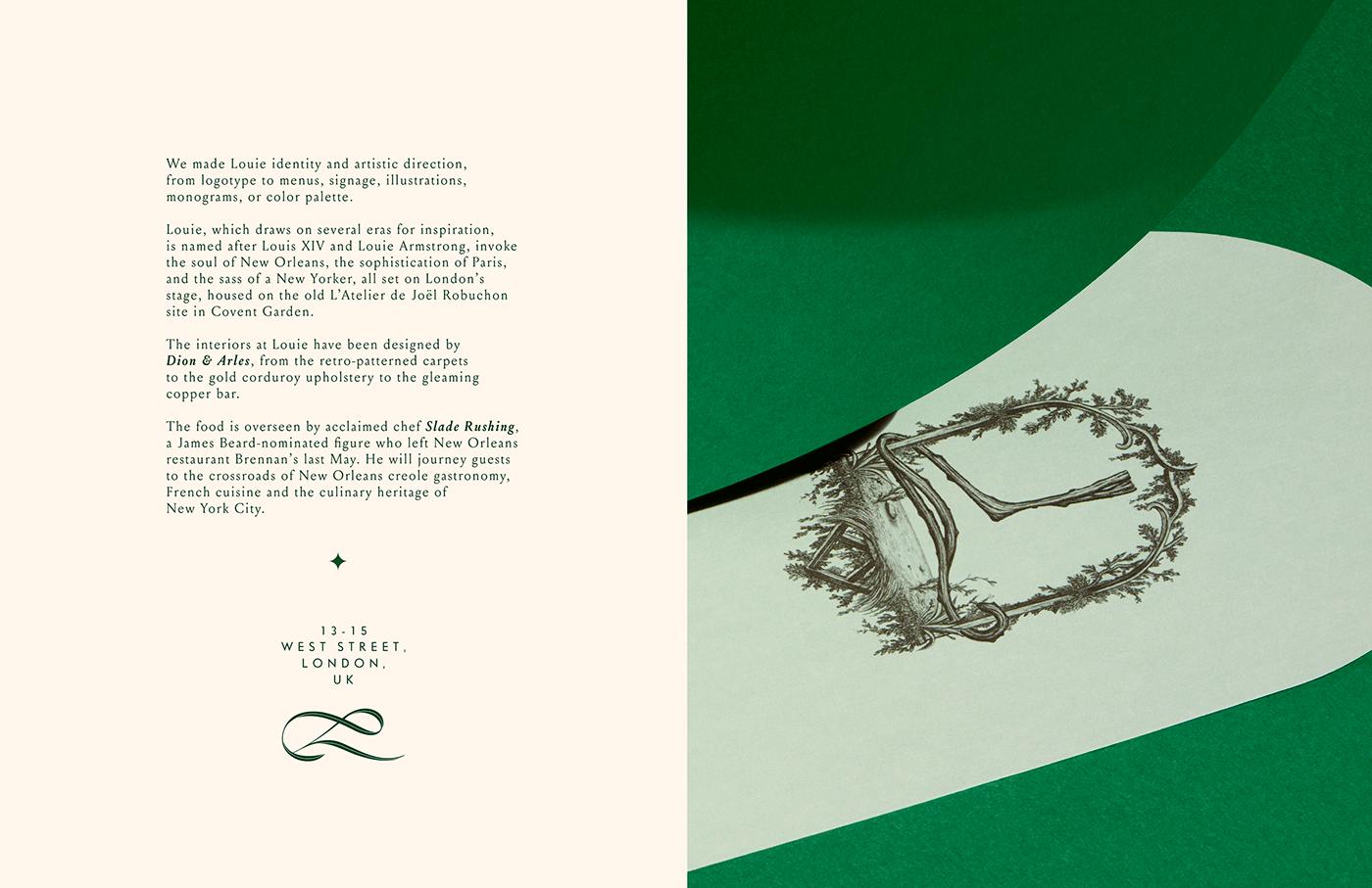 elegant Logotype London louie luxury paris society restaurant design typography   Violaine&jeremy vjtype