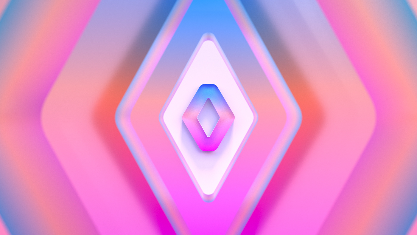 abstract colors car renault 3D brand automobile branding  design identity