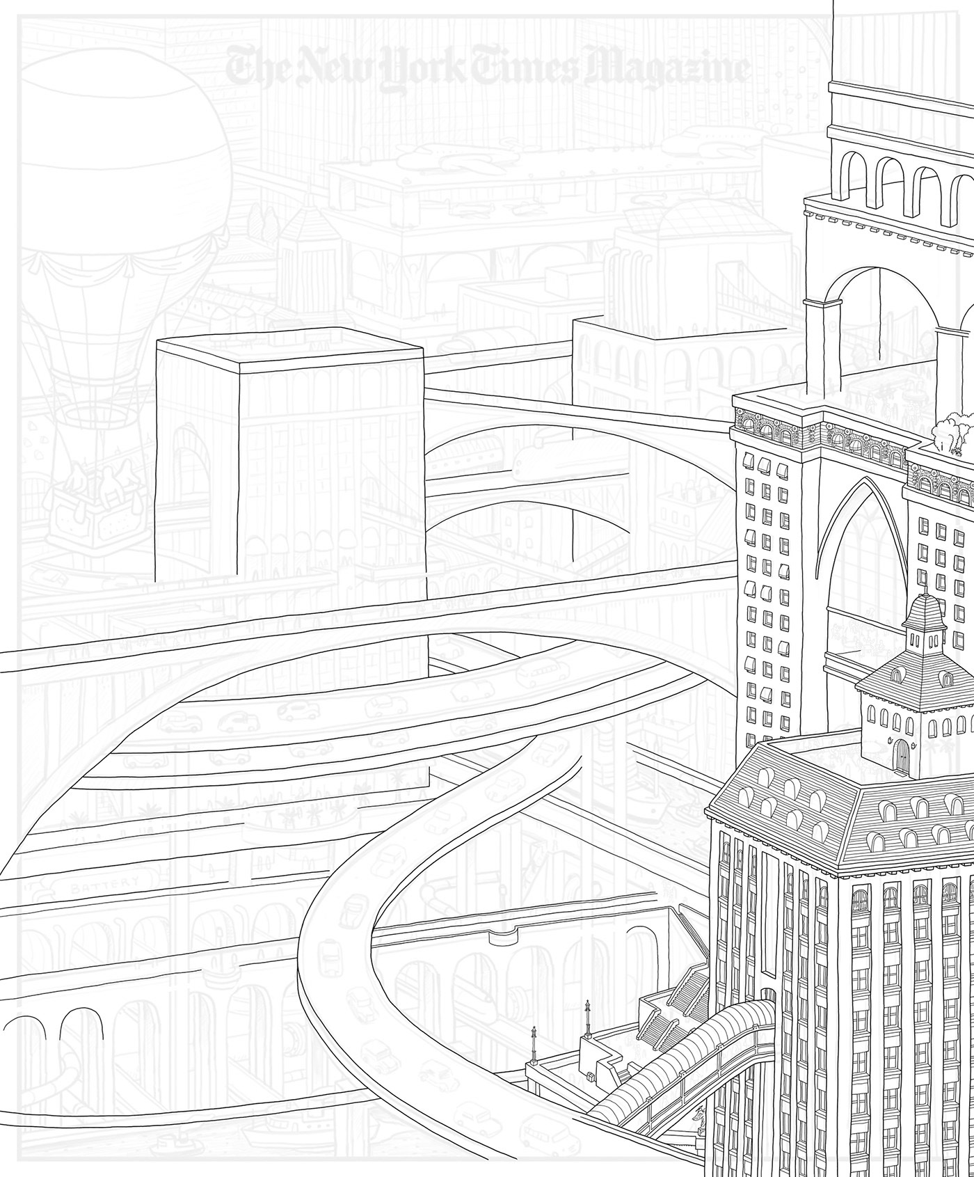 america building city Drawing  infrastructure Landscape magazine newyork painting   usa
