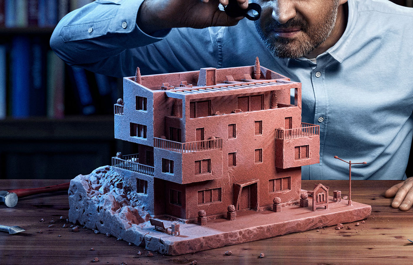 man working architecture home Photography  3D workplace craft architect Interior