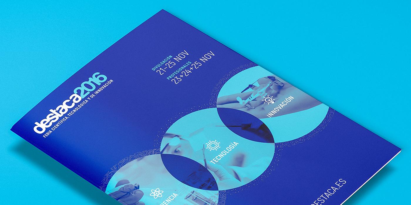 poster science innovation Technology reflex blue Fair feria destaca brochure map