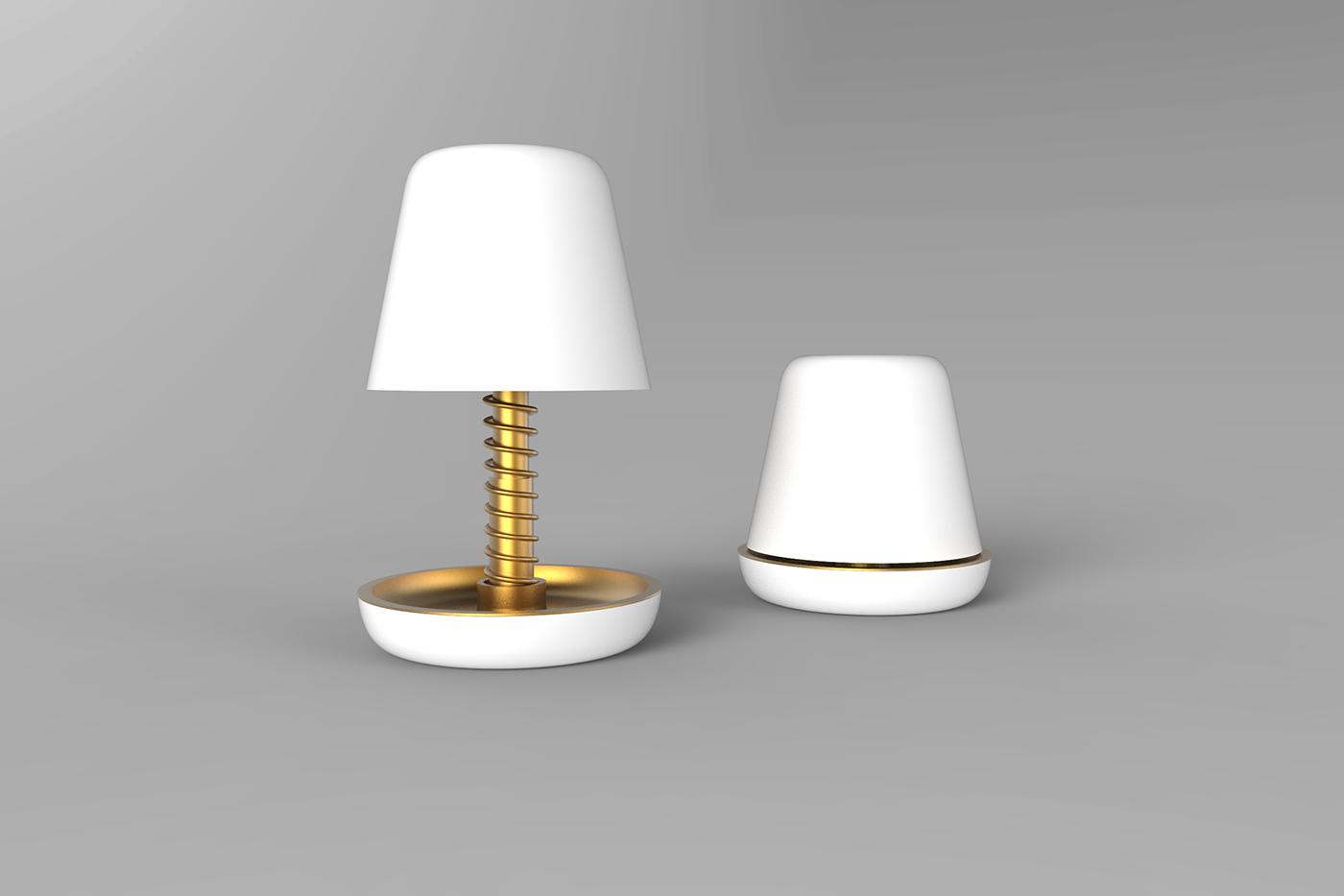 Renderings keyshot Lamp wake-up alarmclock gold White product design student