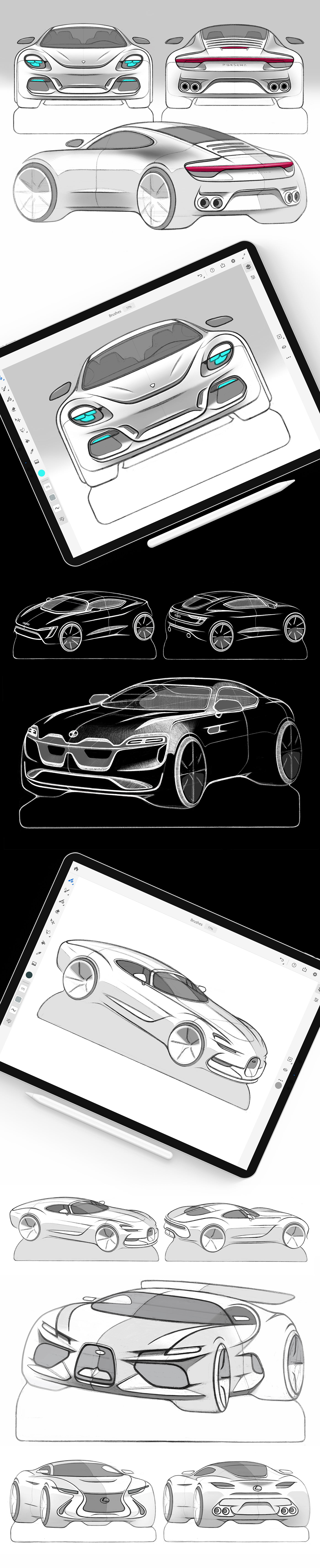 car design car sketches Car Illustration doodle Automotive design ipad pro adobe photoshop fresco Procreate