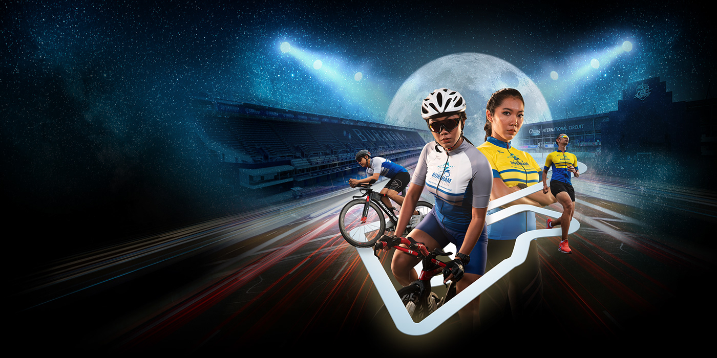 Bicycle circuit duathlon Event night retouch running sports track