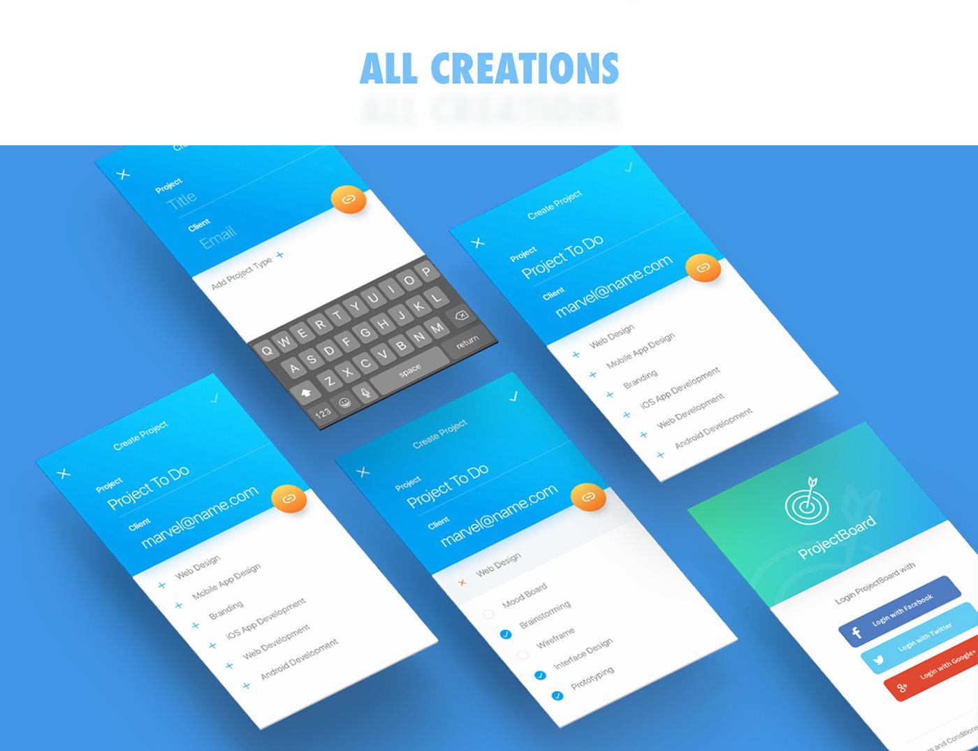 UI ux project board app design best design Behance google template