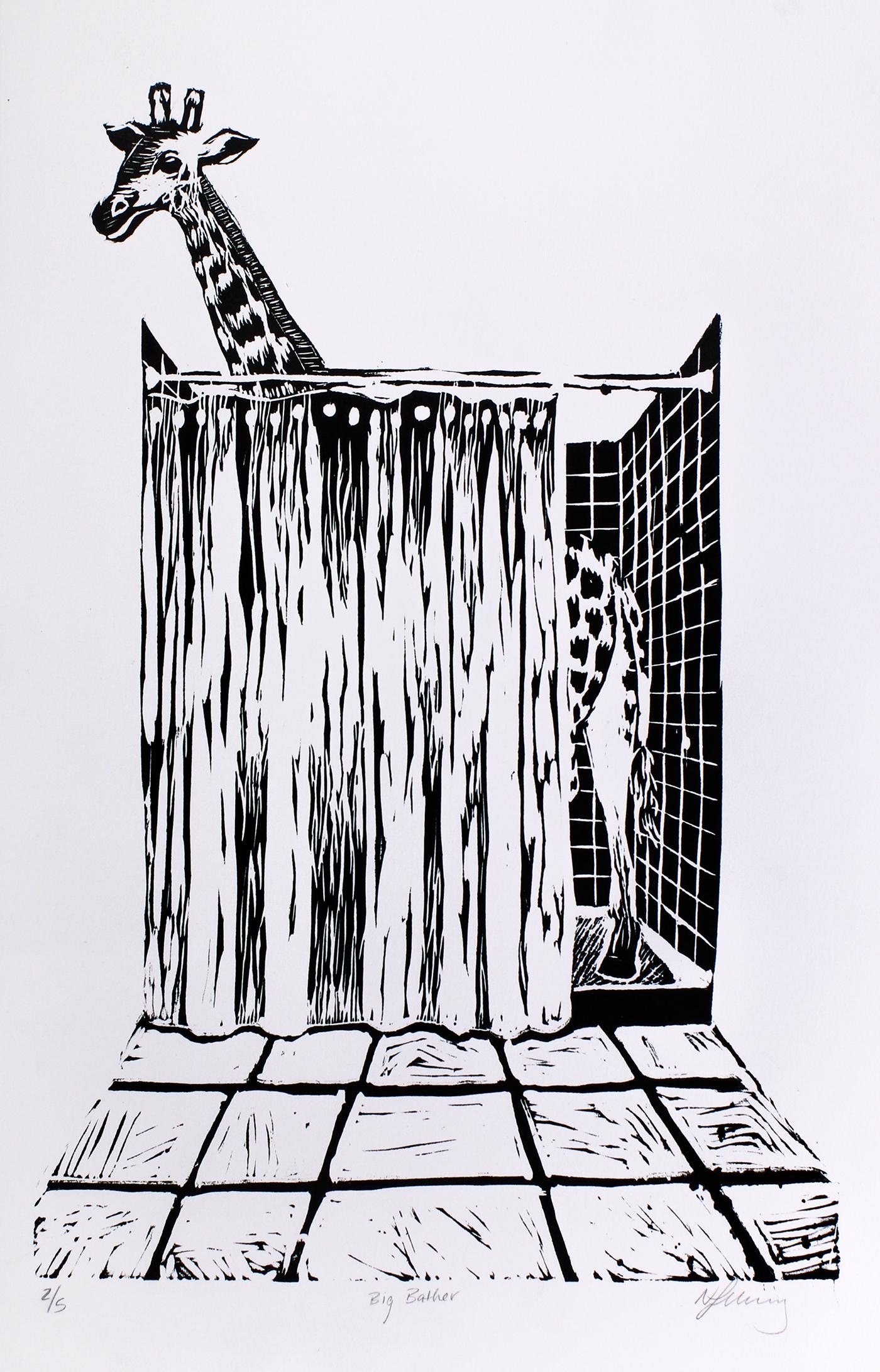 printmaking linoleum giraffe bath SHOWER print black White humor