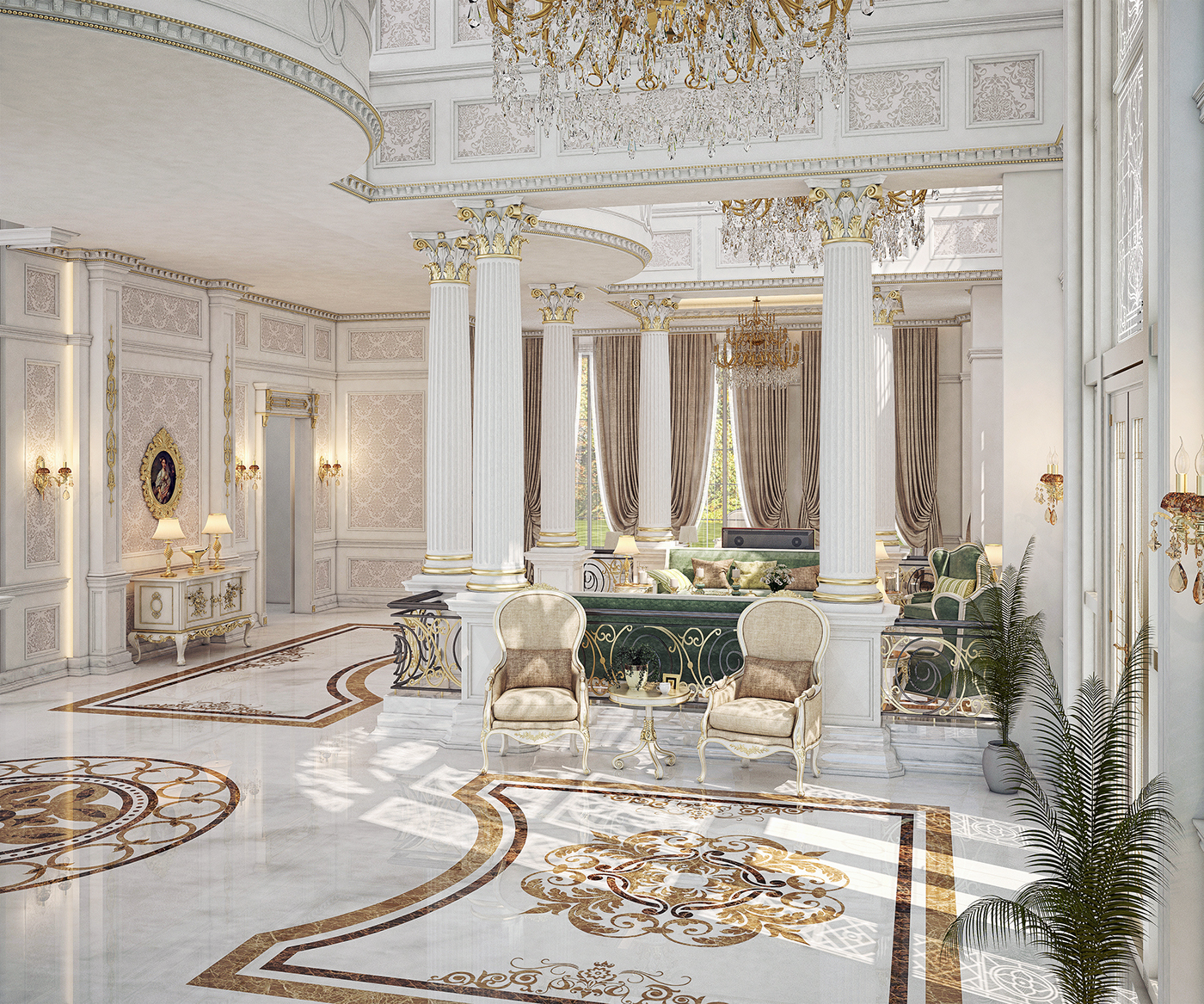 New Home Designs Latest Luxury Homes Interior Decoration: Main Entrance Hall Design For A Private Villa At Doha On